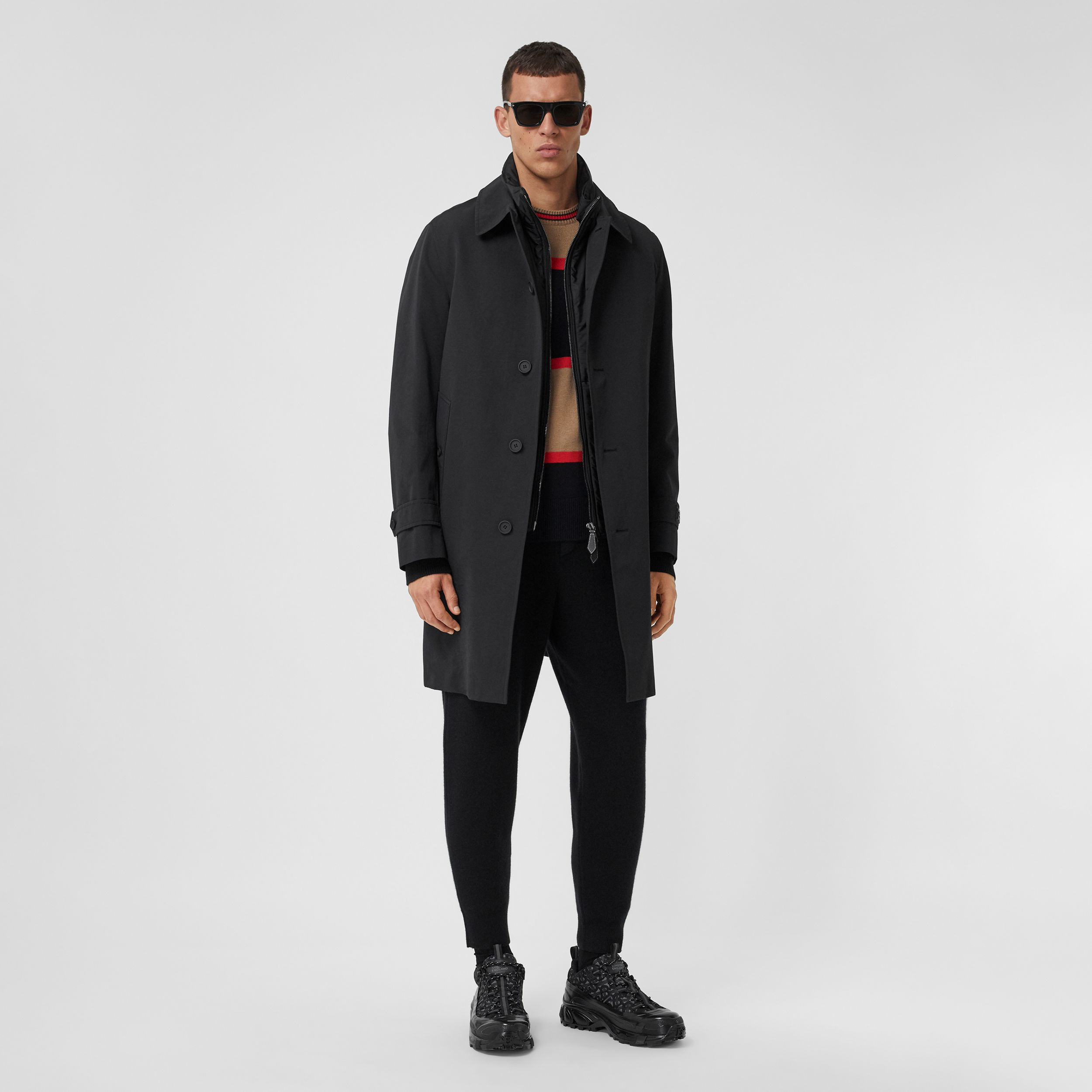 Technical Cotton Car Coat with Detachable Warmer in Black - Men | Burberry - 1