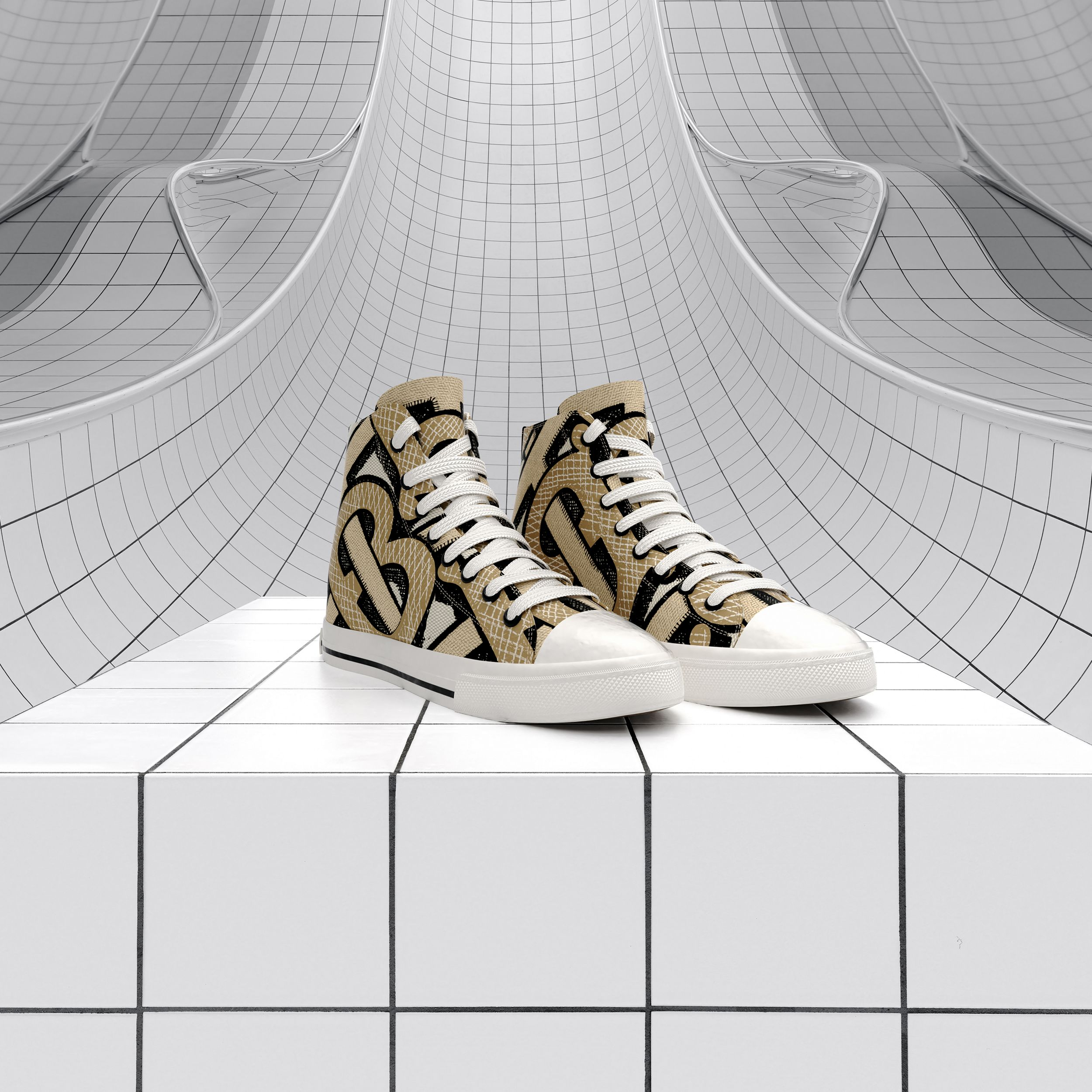 Monogram Print Cotton Canvas High-top Sneakers in Dark Beige - Women | Burberry - 2
