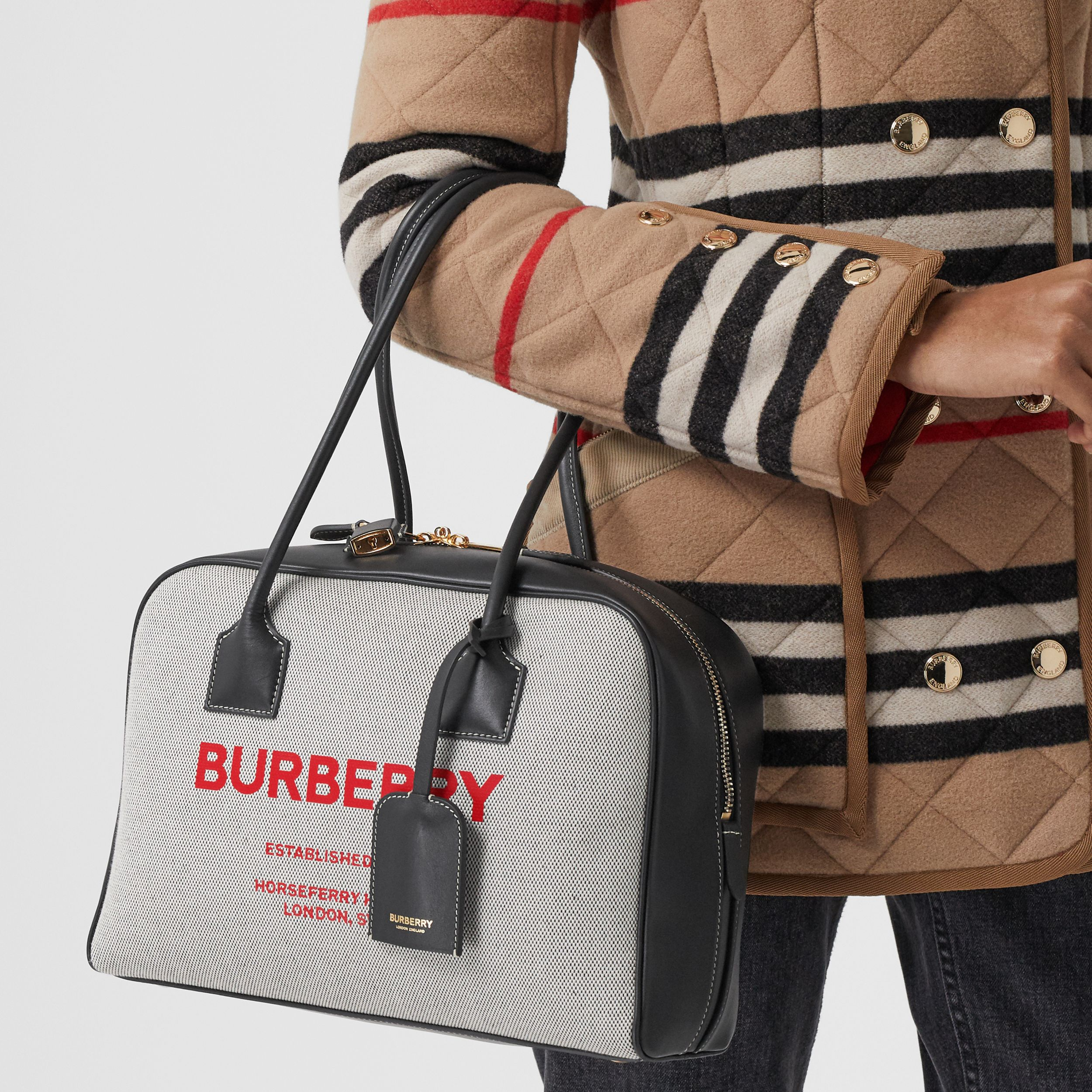 Medium Horseferry Print Cotton Canvas Half Cube Bag in Black/black/fiery Red - Women | Burberry Australia - 3
