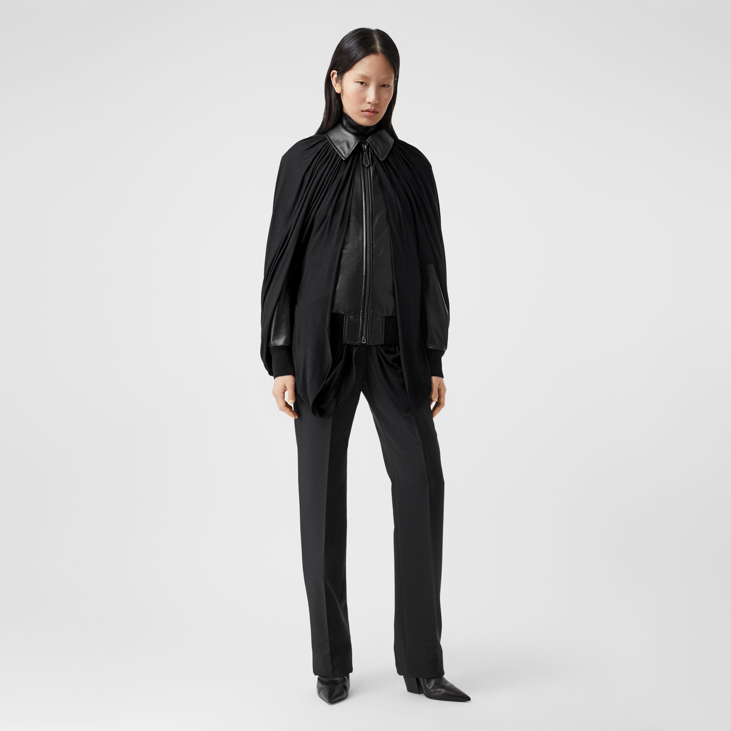 Jersey Cape Detail Lambskin Harrington Jacket in Black - Women | Burberry United States - 1