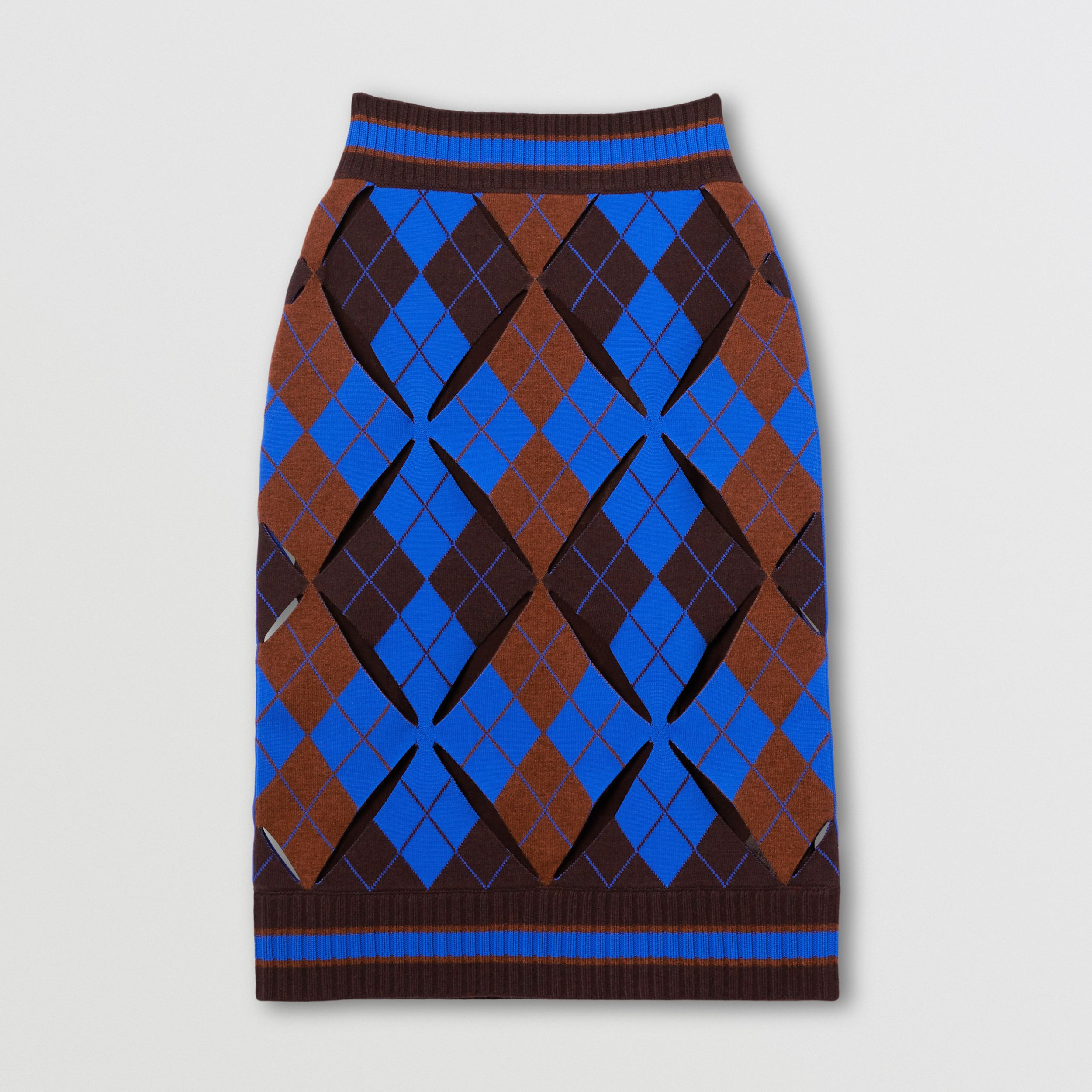 Cut-out Detail Argyle Technical Wool Jacquard Skirt in Bright Blue - Women | Burberry - 4
