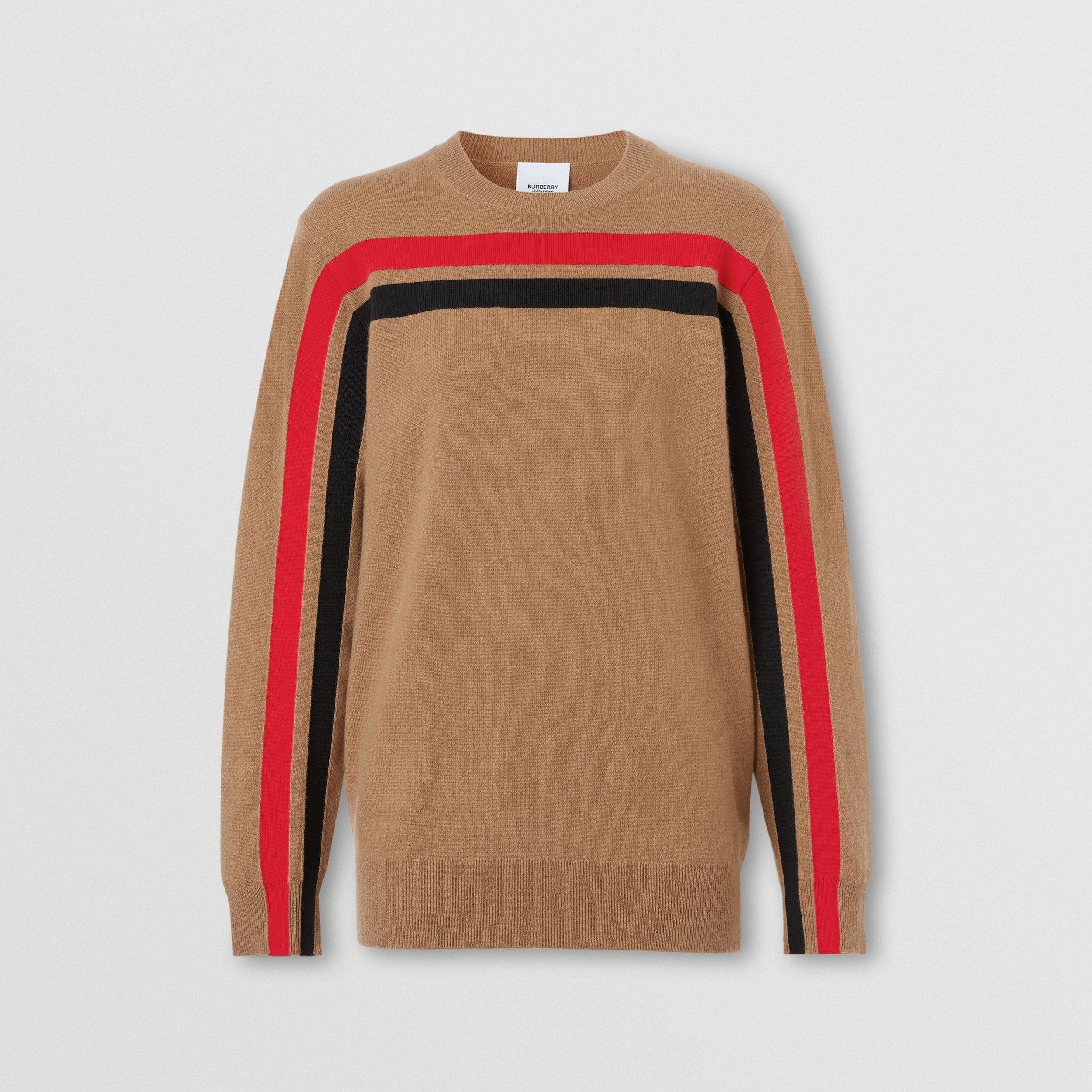 Stripe Detail Technical Cashmere Sweater in Beige - Women | Burberry - 4