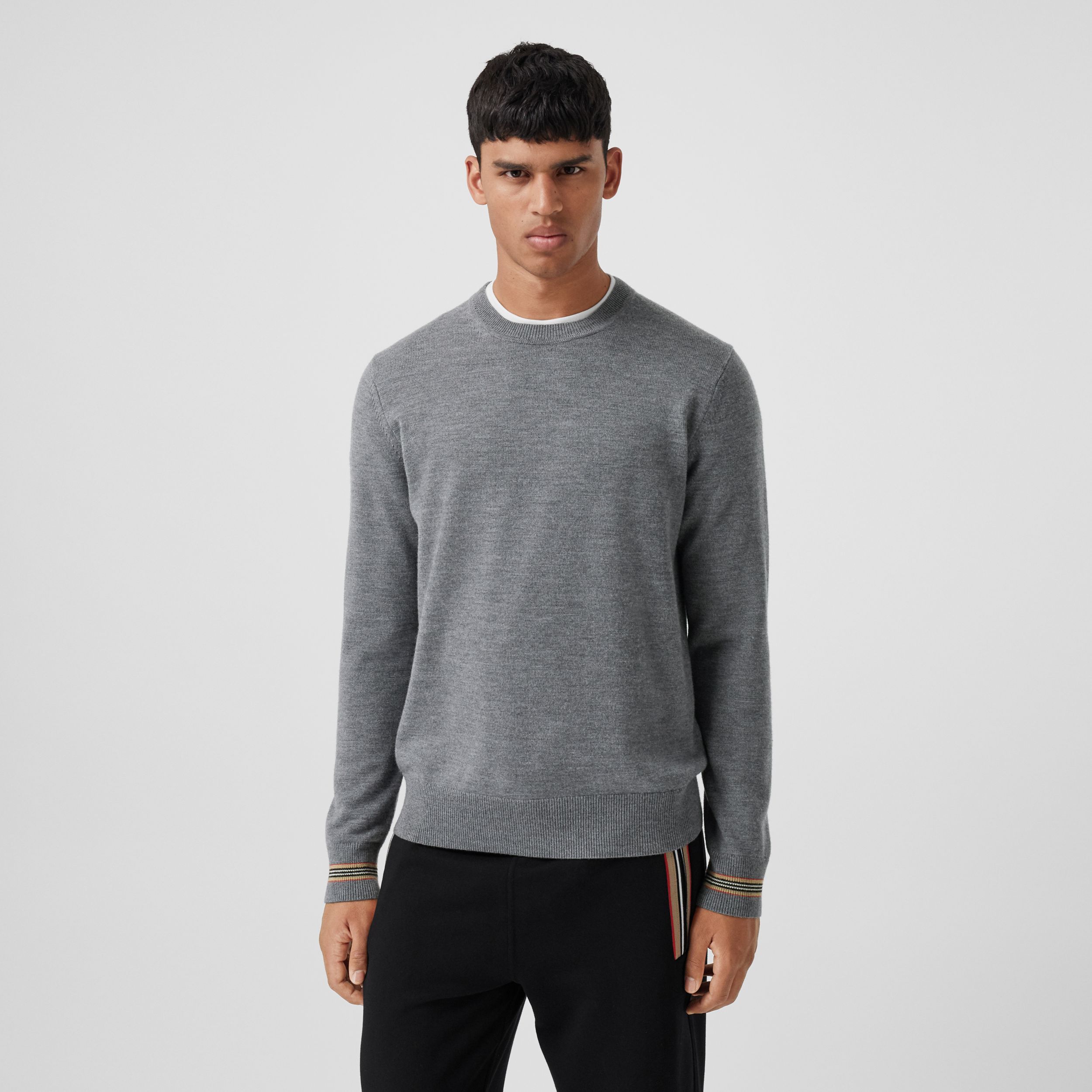 Icon Stripe Trim Merino Wool Sweater in Mid Grey Melange - Men | Burberry - 1