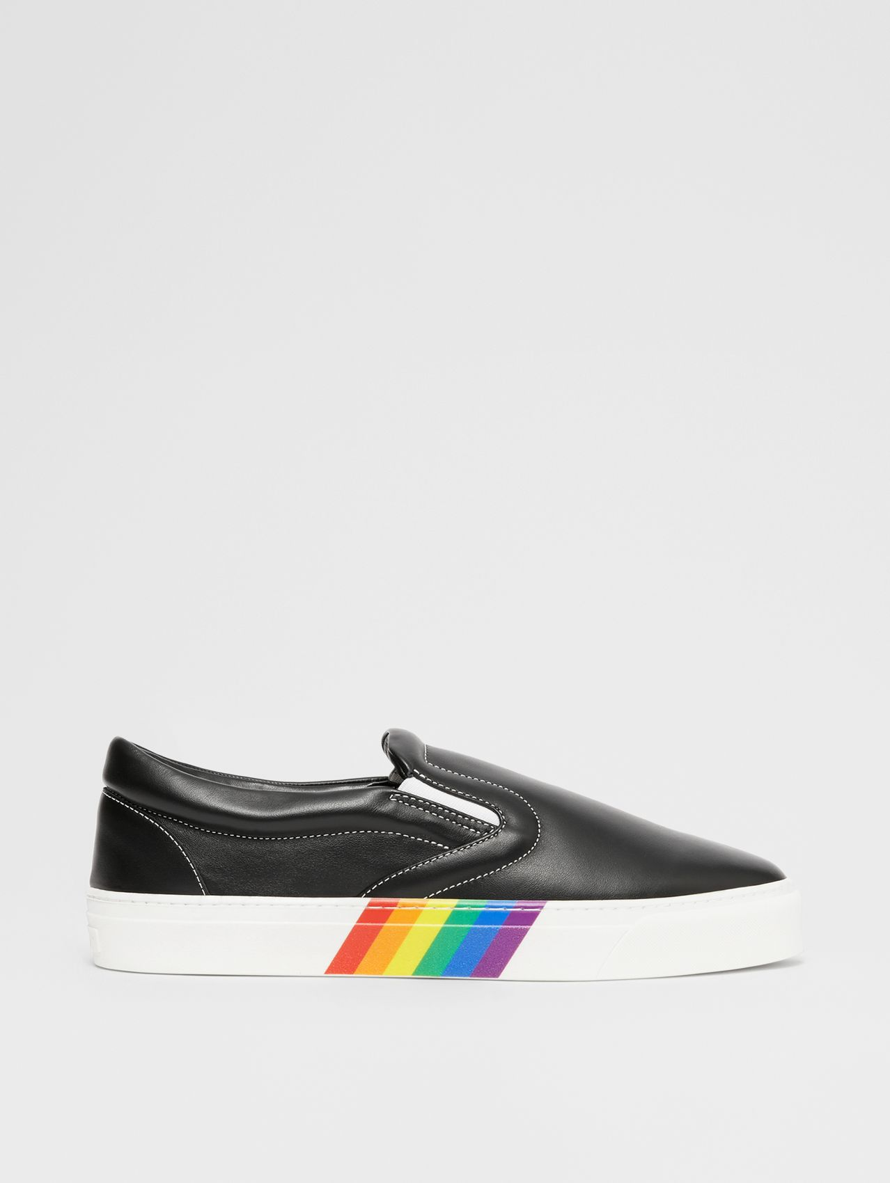 Rainbow Print Leather Slip-on Sneakers in Black
