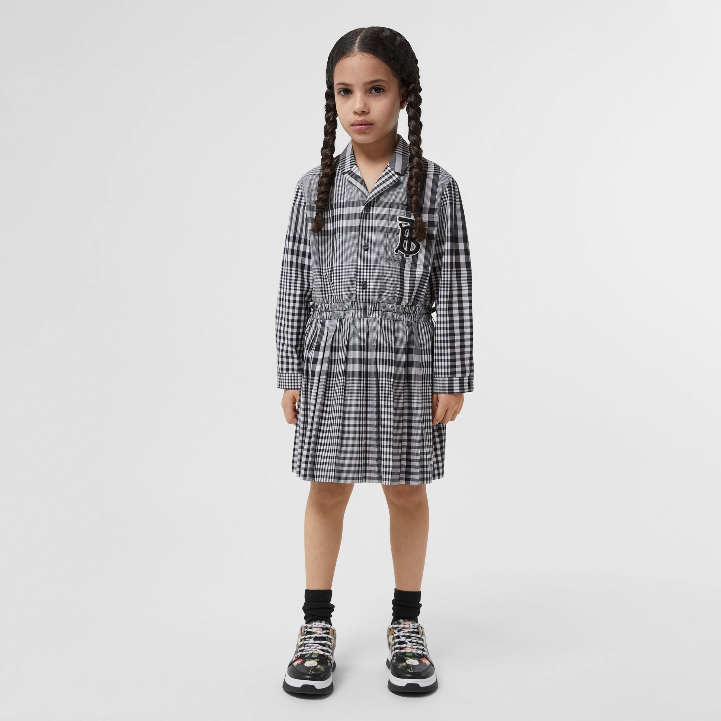 Long-sleeve Monogram Motif Check Cotton Dress in Black | Burberry - 3