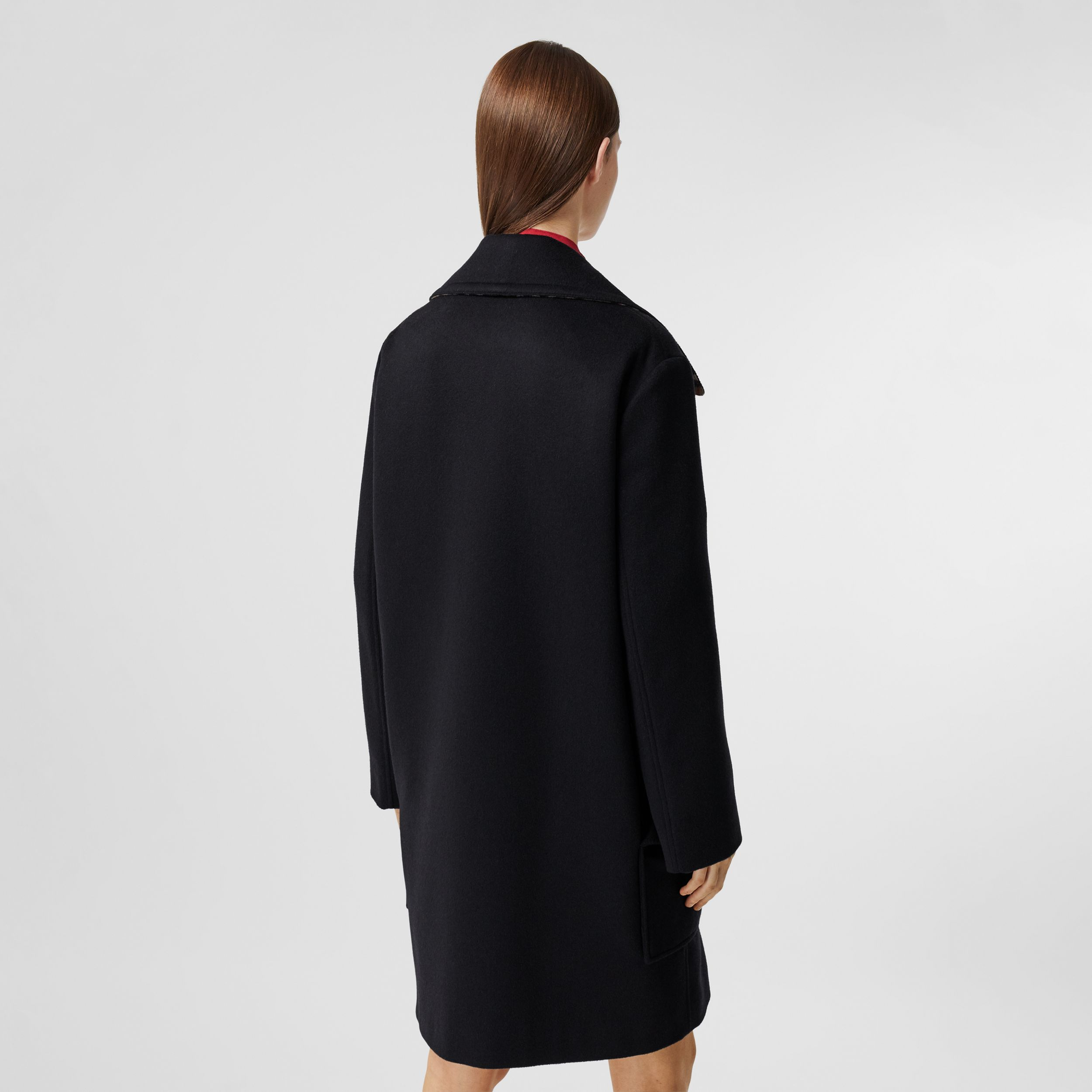 Pocket Detail Cashmere Pea Coat in Navy - Women | Burberry - 3