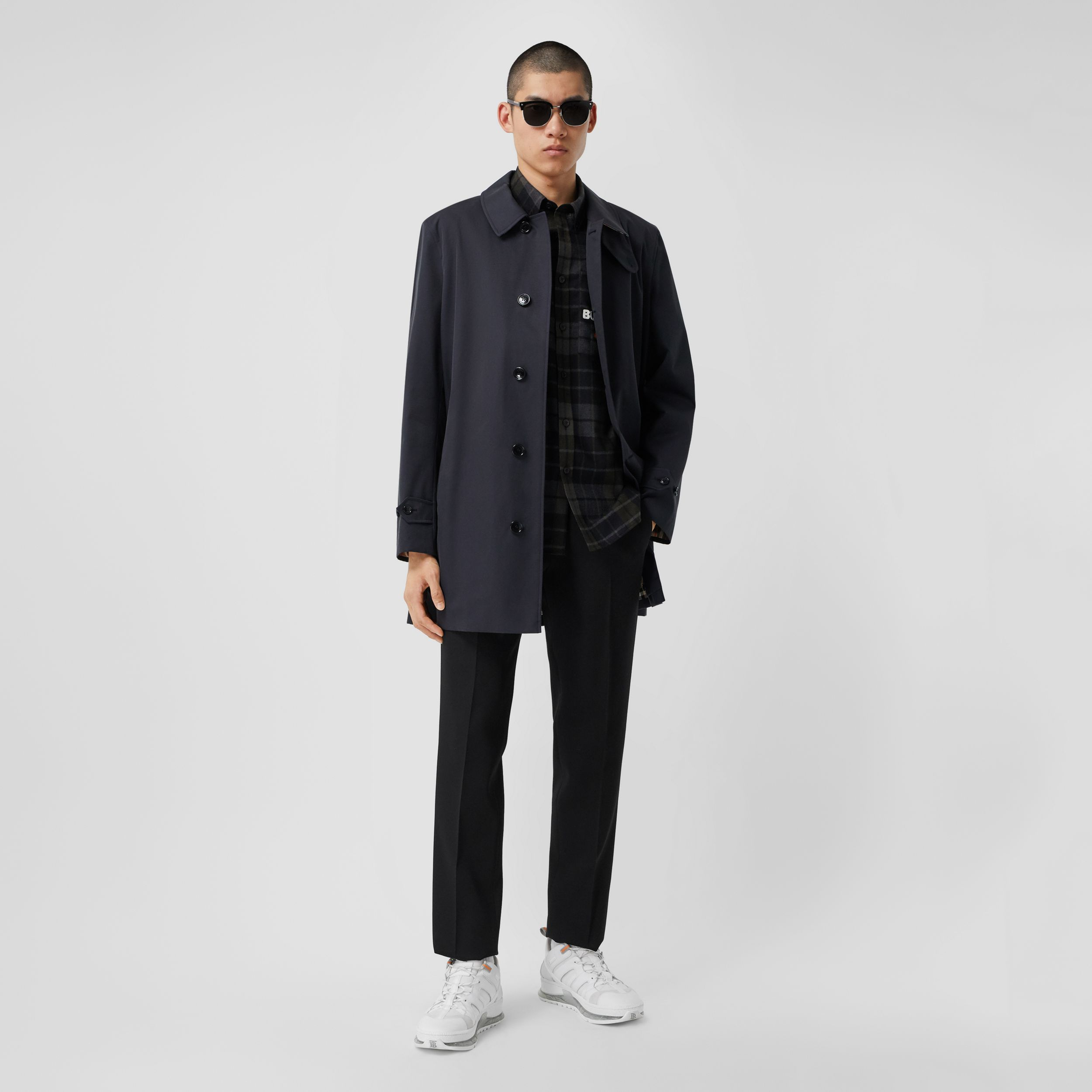 Organic Cotton Gabardine Car Coat in Midnight - Men | Burberry Australia - 1