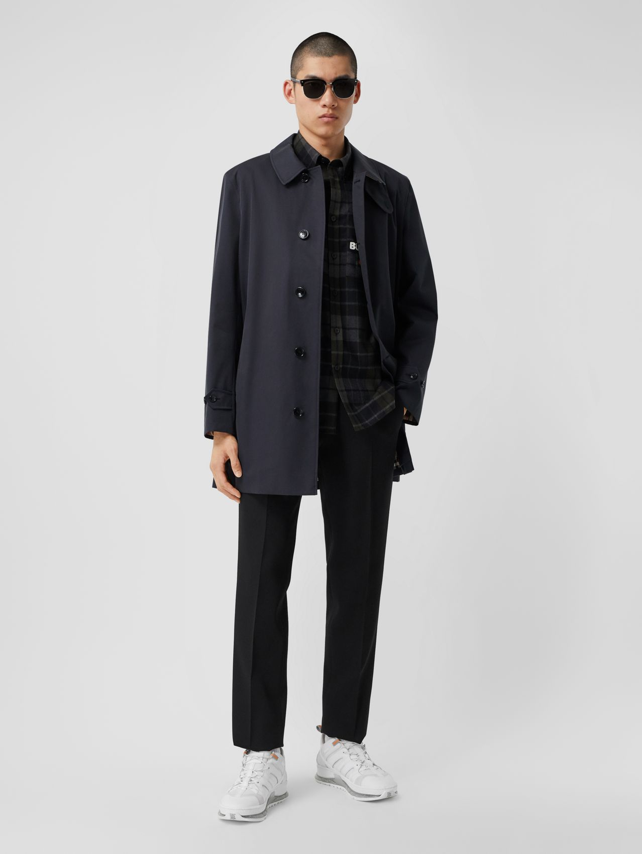 Organic Cotton Gabardine Car Coat in Midnight
