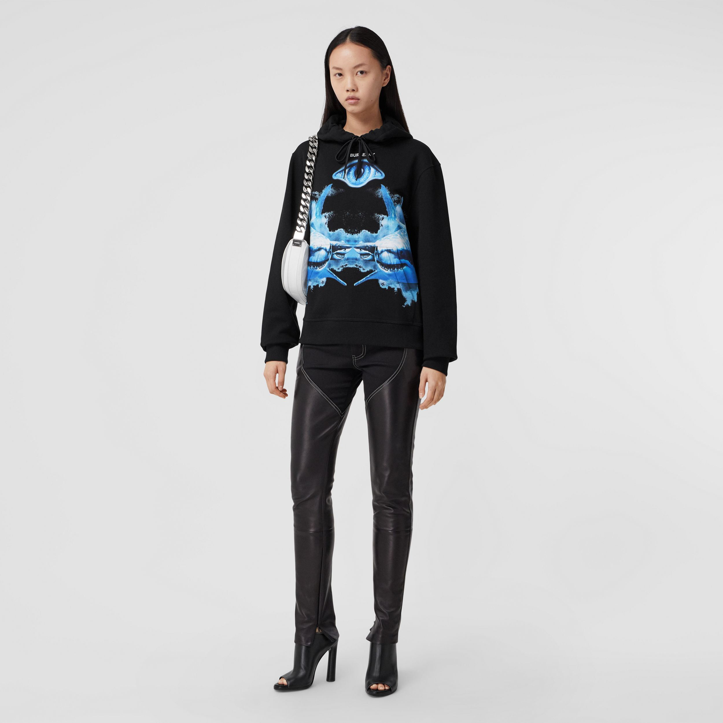 Shark Print Cotton Oversized Hoodie in Black - Women | Burberry United States - 1
