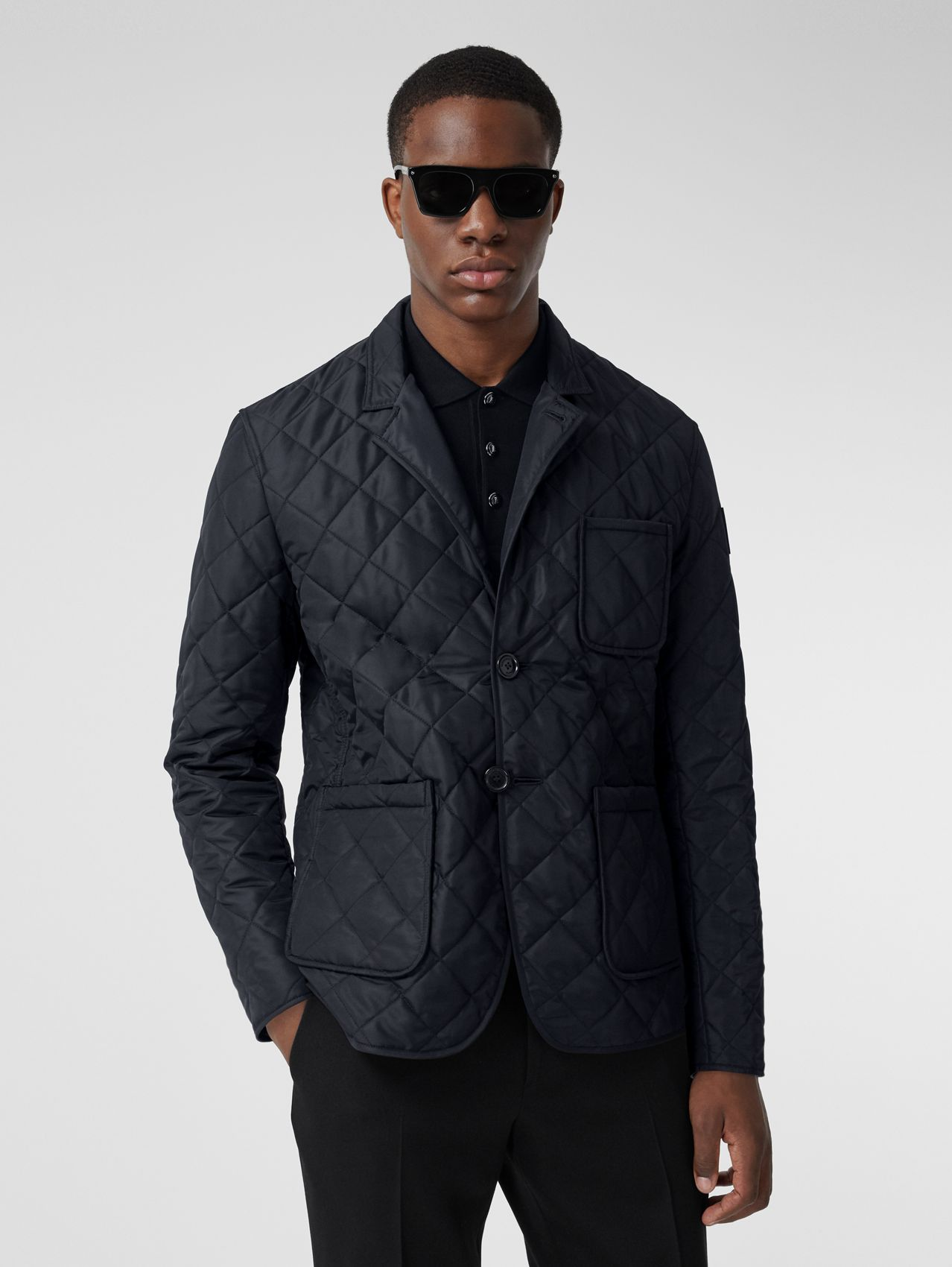 Logo Appliqué Quilted Thermoregulated Blazer in Navy