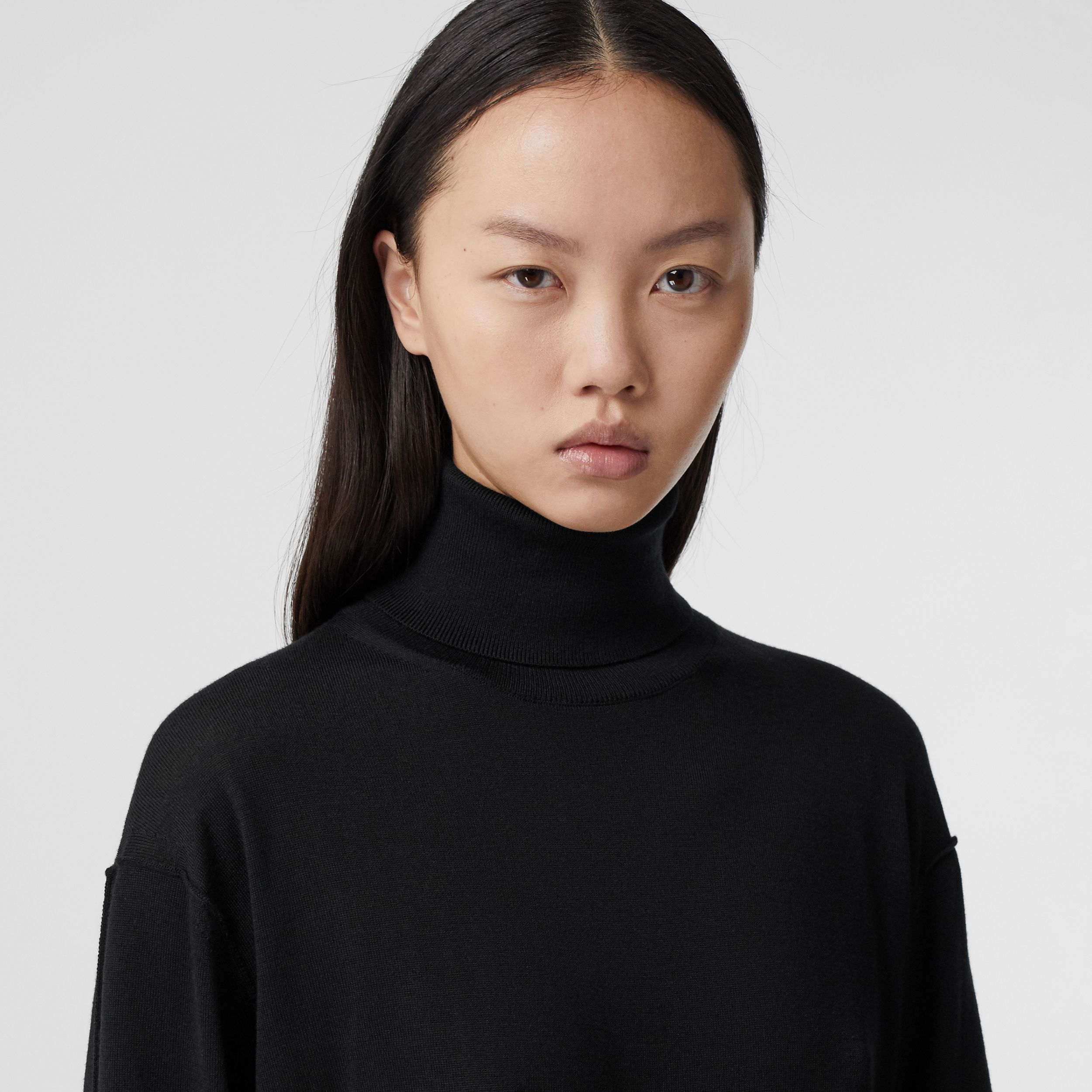 Logo Tape Merino Wool Silk Roll-neck Sweater in Black - Women | Burberry - 2