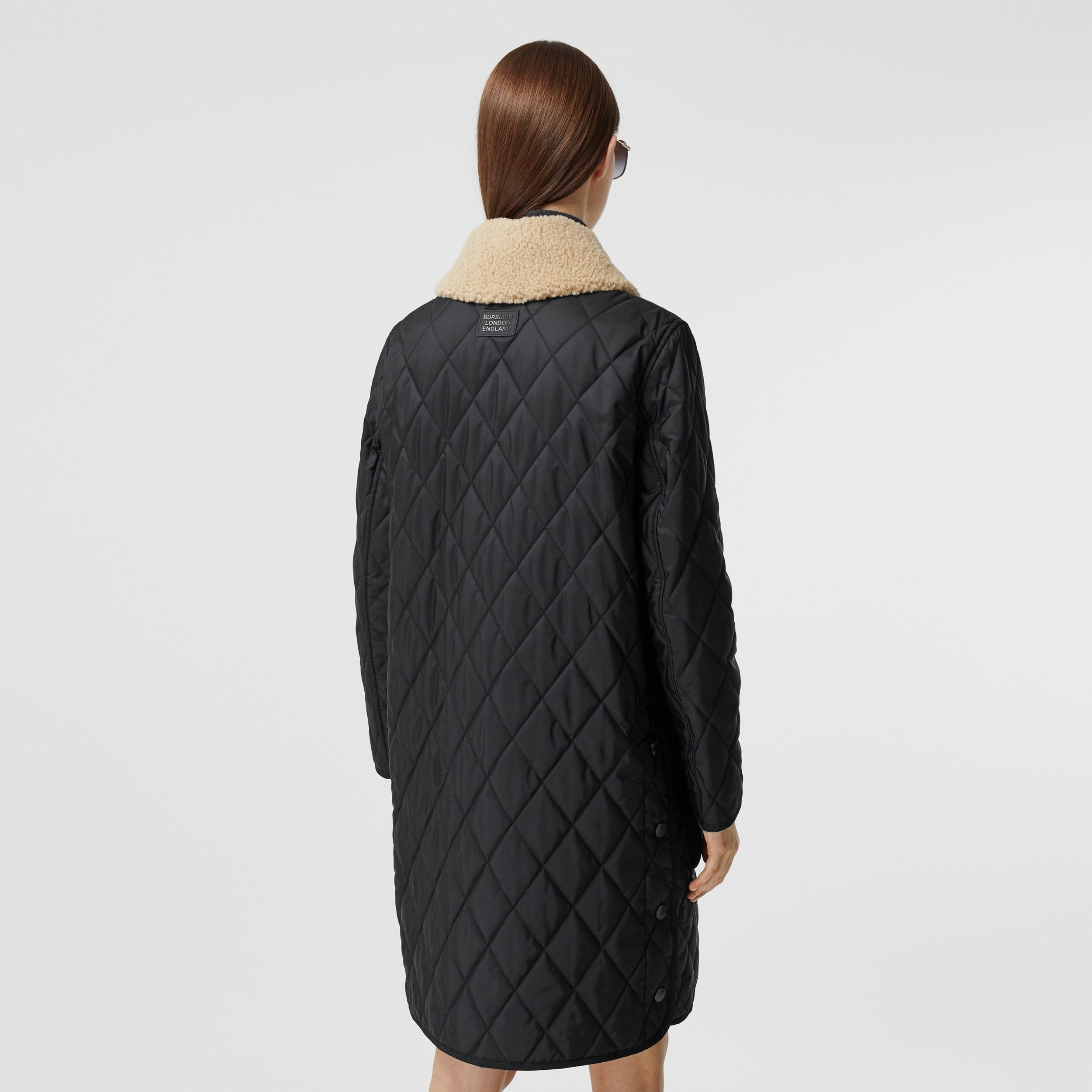 Detachable Fleece Collar Diamond Quilted Coat in Black - Women | Burberry - 3