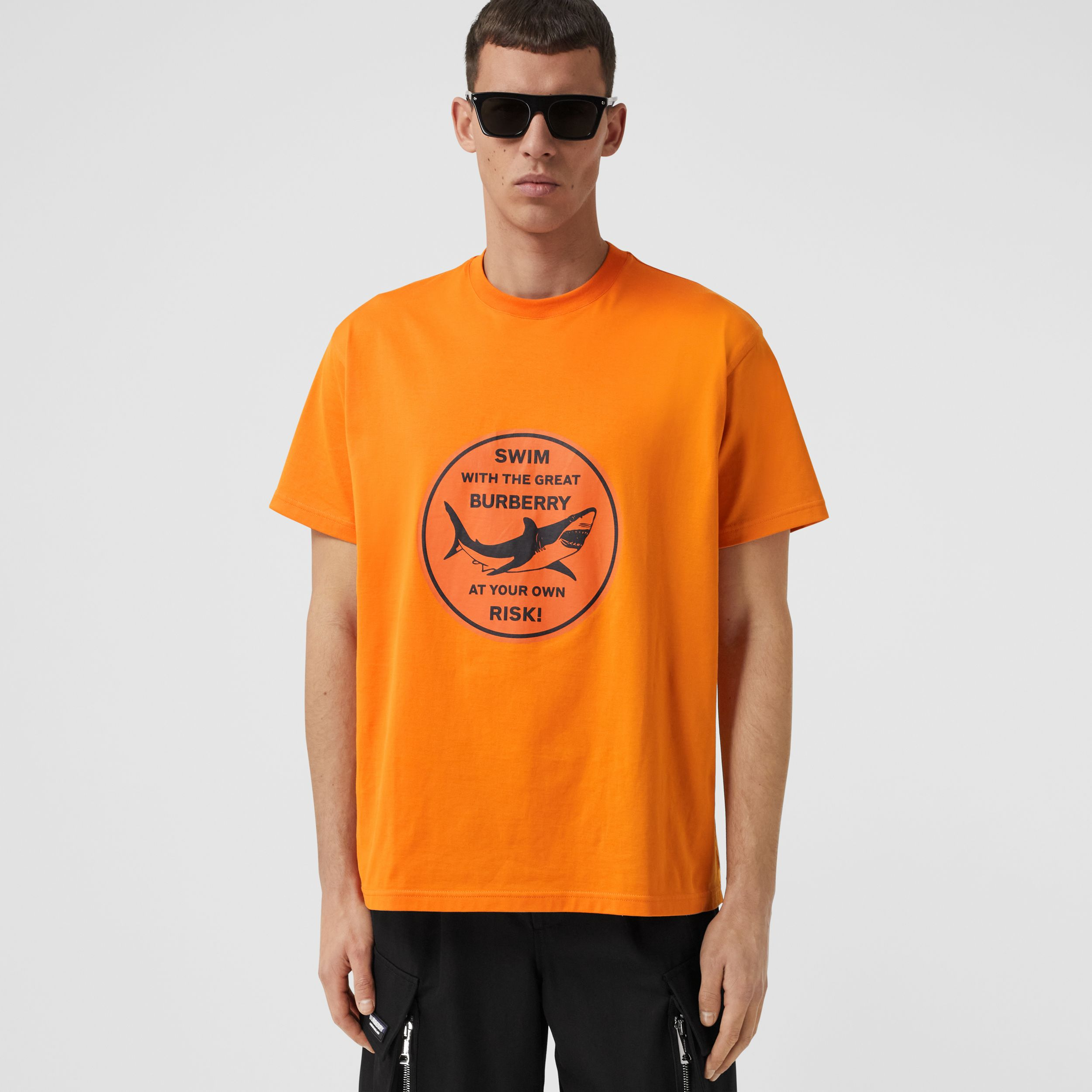 Shark Graphic Cotton Oversized T-shirt in Deep Orange - Men | Burberry United States - 1