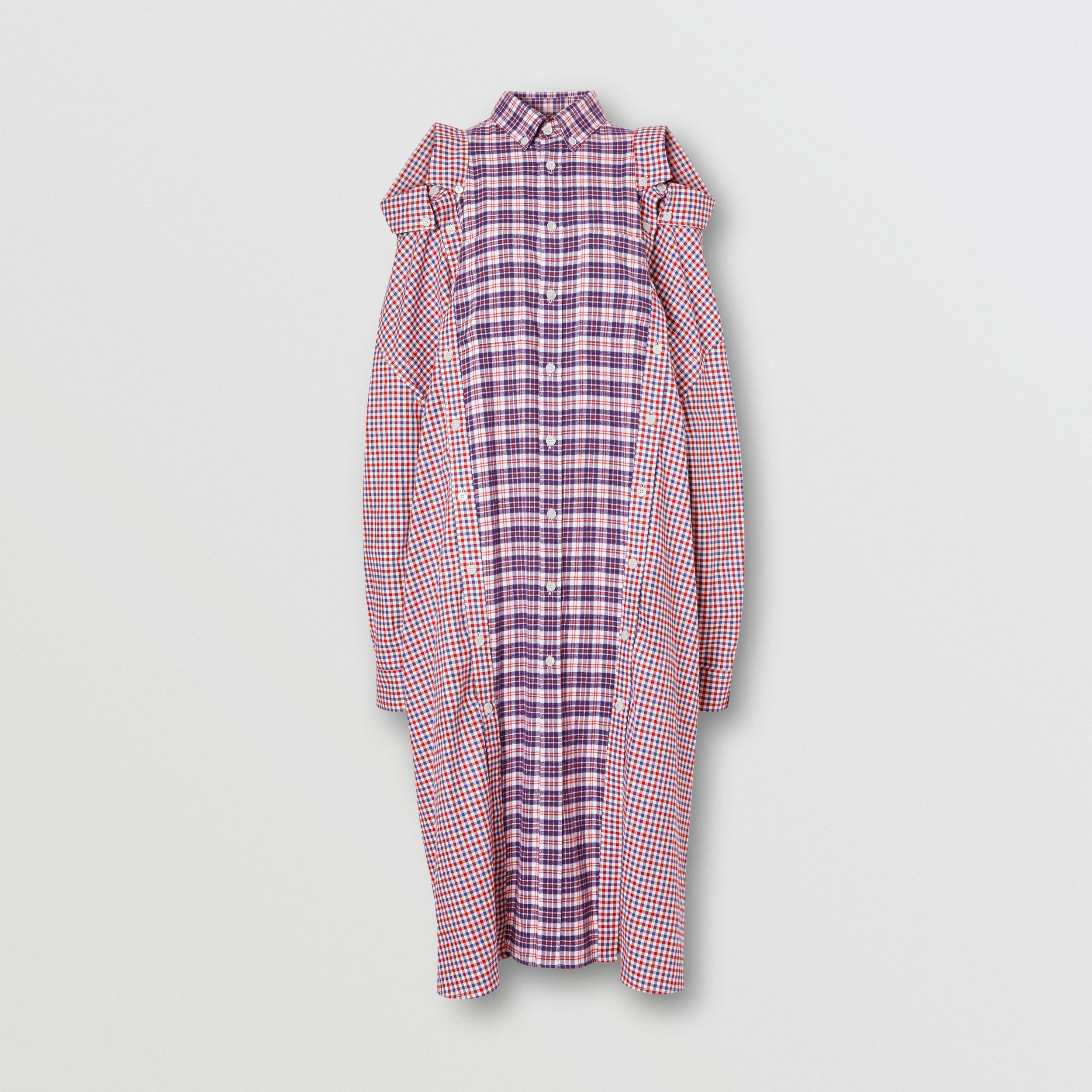 Contrast Check Cotton Reconstructed Shirt Dress in Bright Red - Women | Burberry - 4