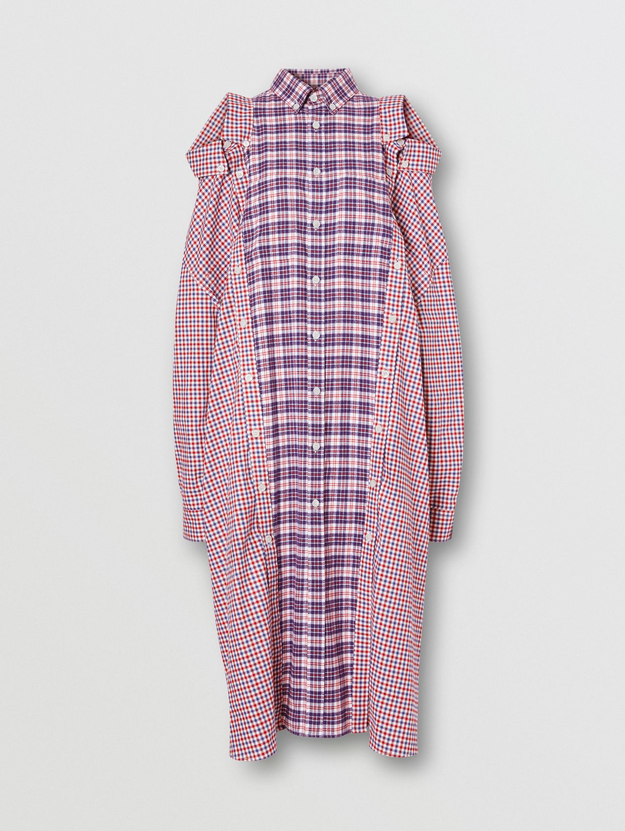 Contrast Check Cotton Reconstructed Shirt Dress in Bright Red