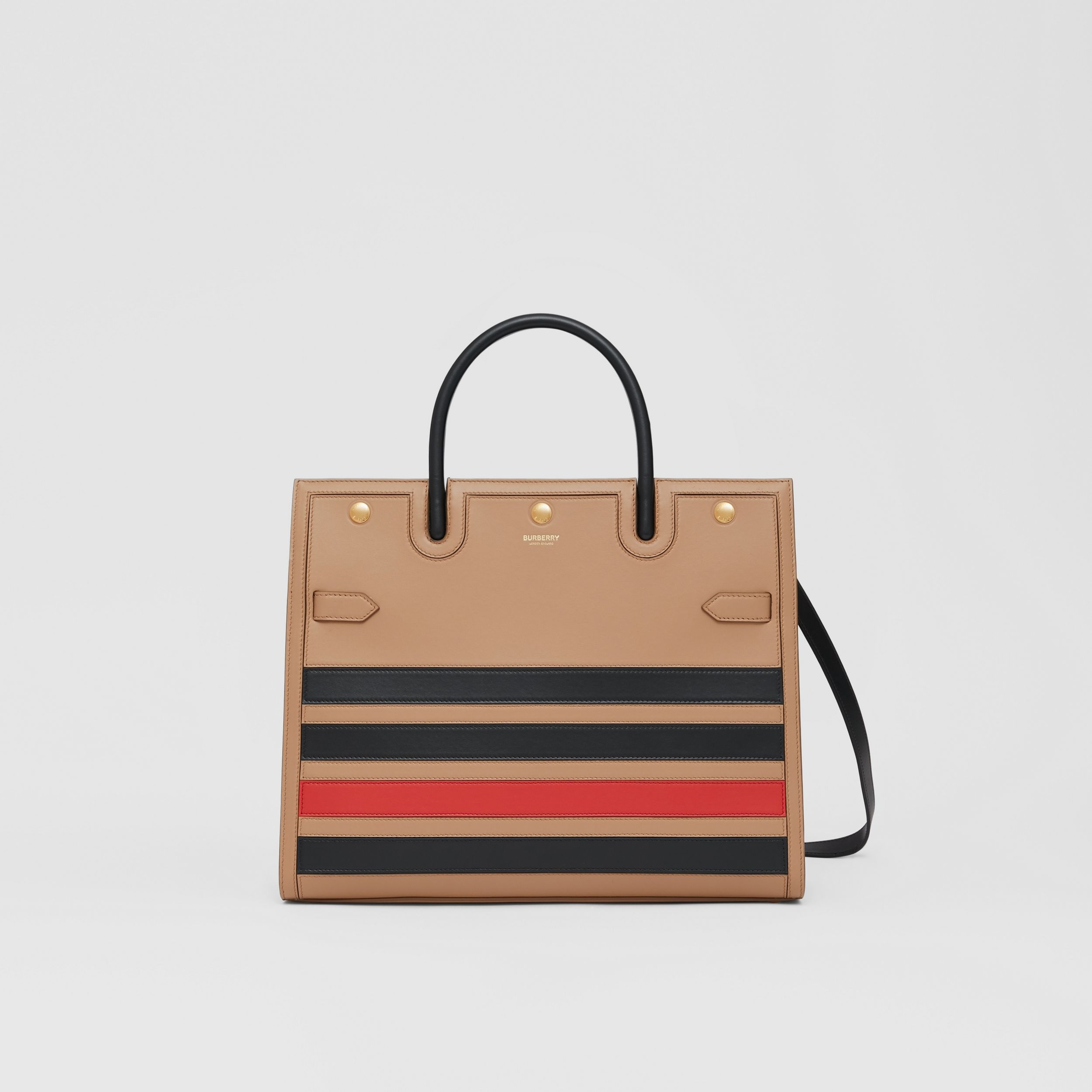 Medium Striped Intarsia Leather Two-handle Title Bag in Camel - Women | Burberry - 1
