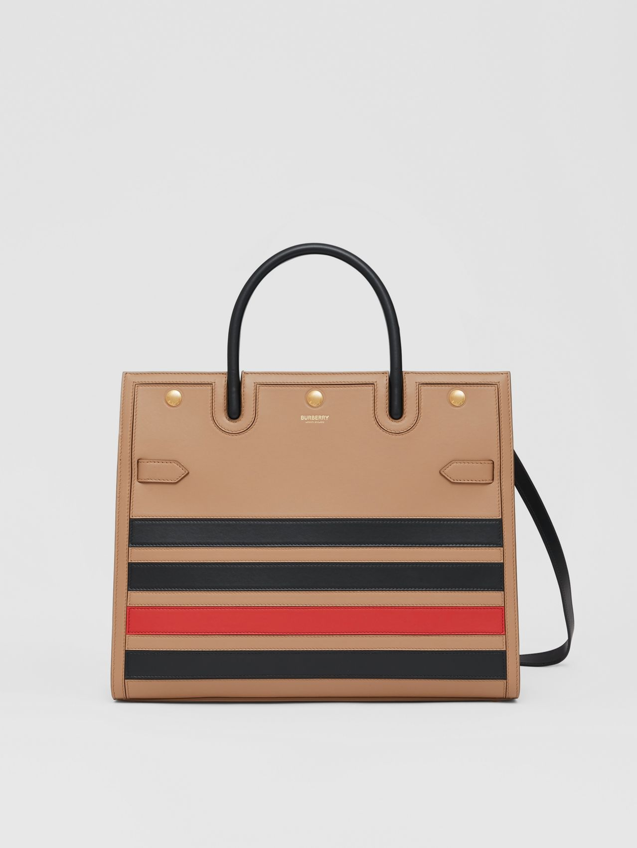 Medium Striped Intarsia Leather Two-handle Title Bag in Camel