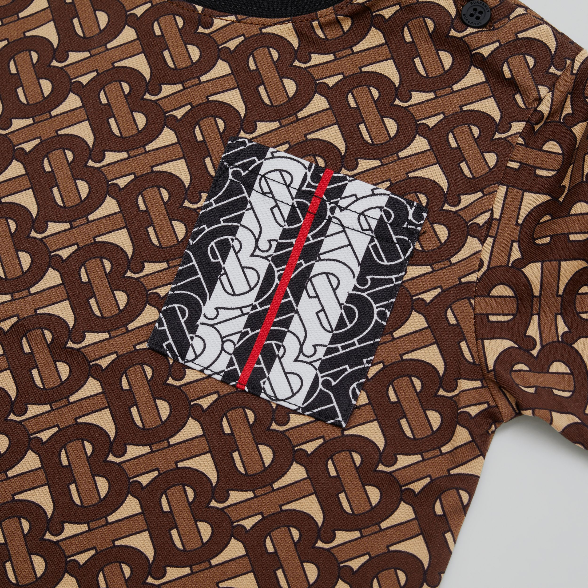 Monogram Stripe Print Cotton T-shirt in Bridle Brown - Children | Burberry Singapore - 2