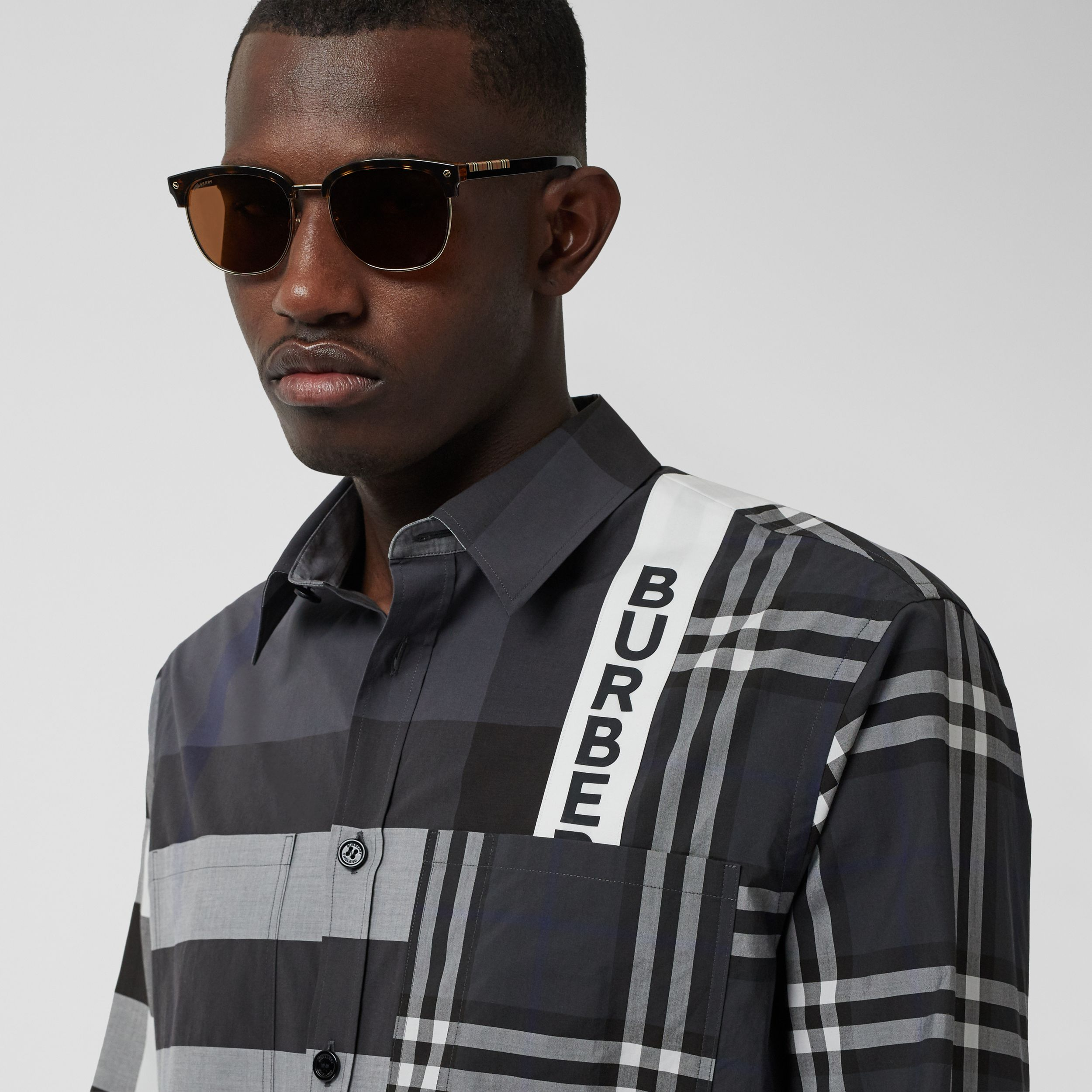 Logo Print Patchwork Check Cotton Oversized Shirt in Dark Pewter - Men | Burberry - 2