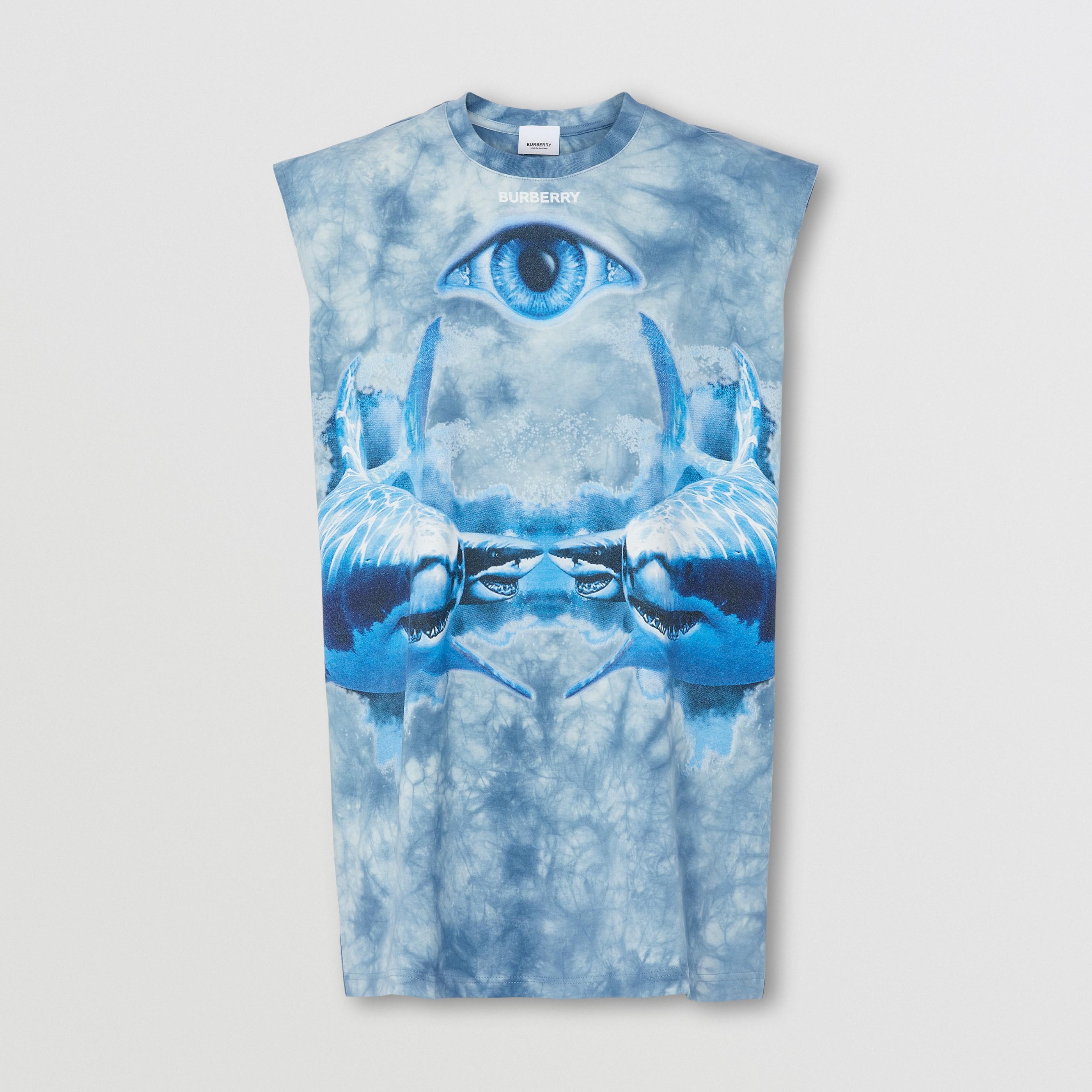 Top senza maniche in cotone con stampa squalo (Blu Inchiostro) - Donna | Burberry - 4