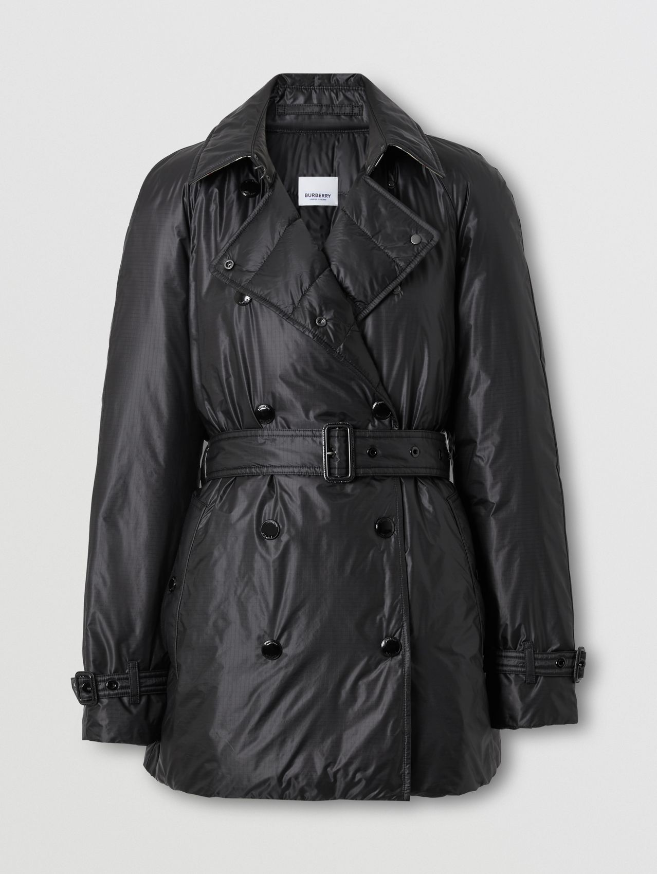 Down-filled Nylon Cropped Trench Coat in Black