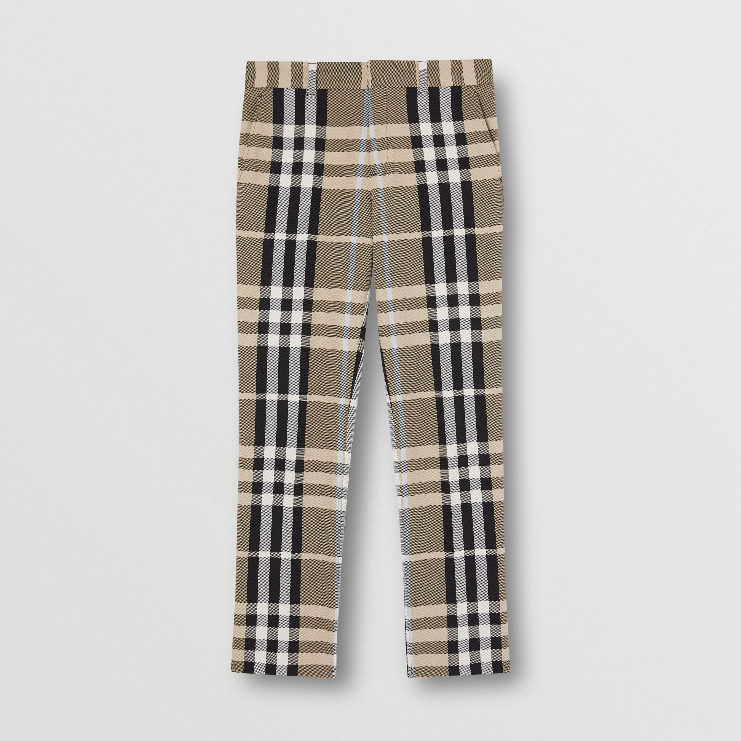 Slim Fit Check Technical Cotton Tailored Trousers in Dusty Sand - Men | Burberry - 4