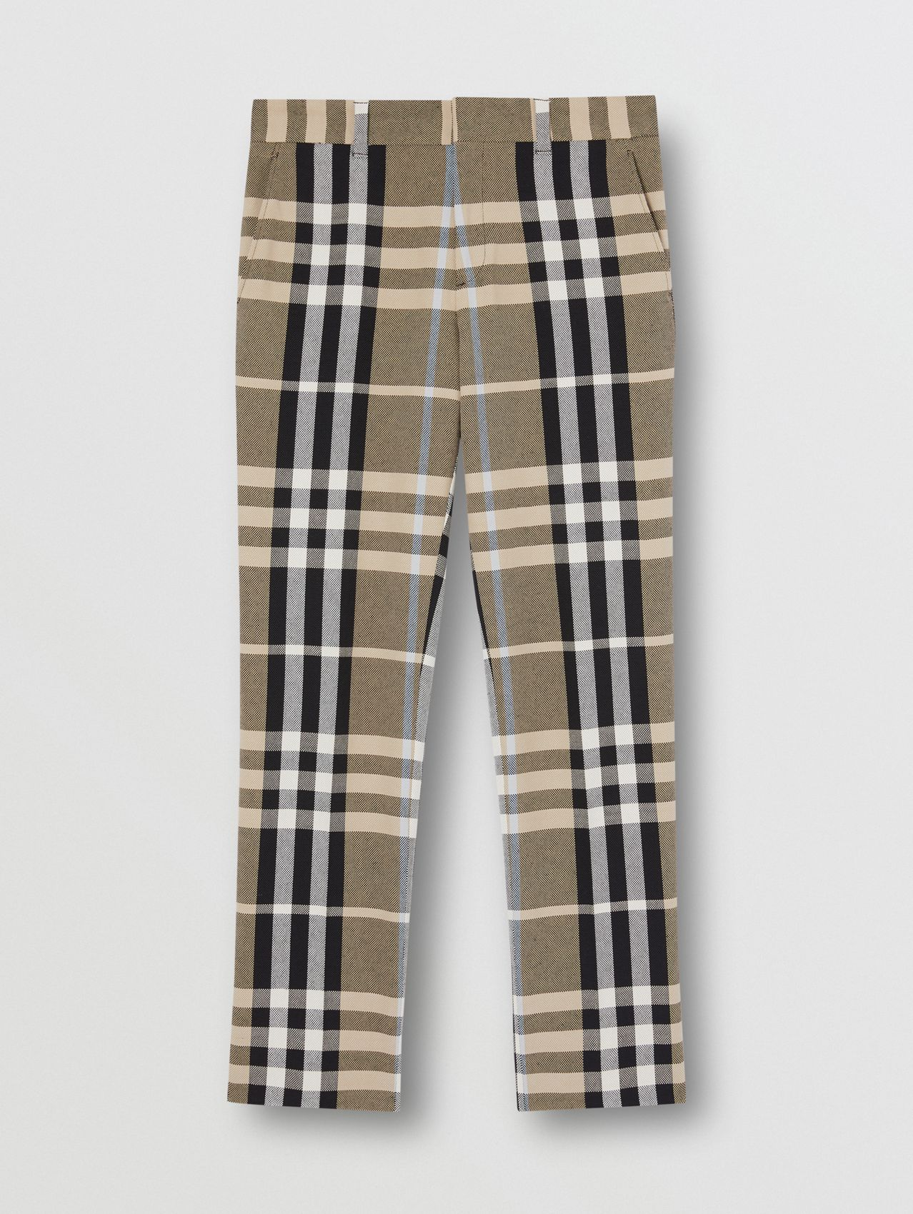 Slim Fit Check Technical Cotton Tailored Trousers in Dusty Sand