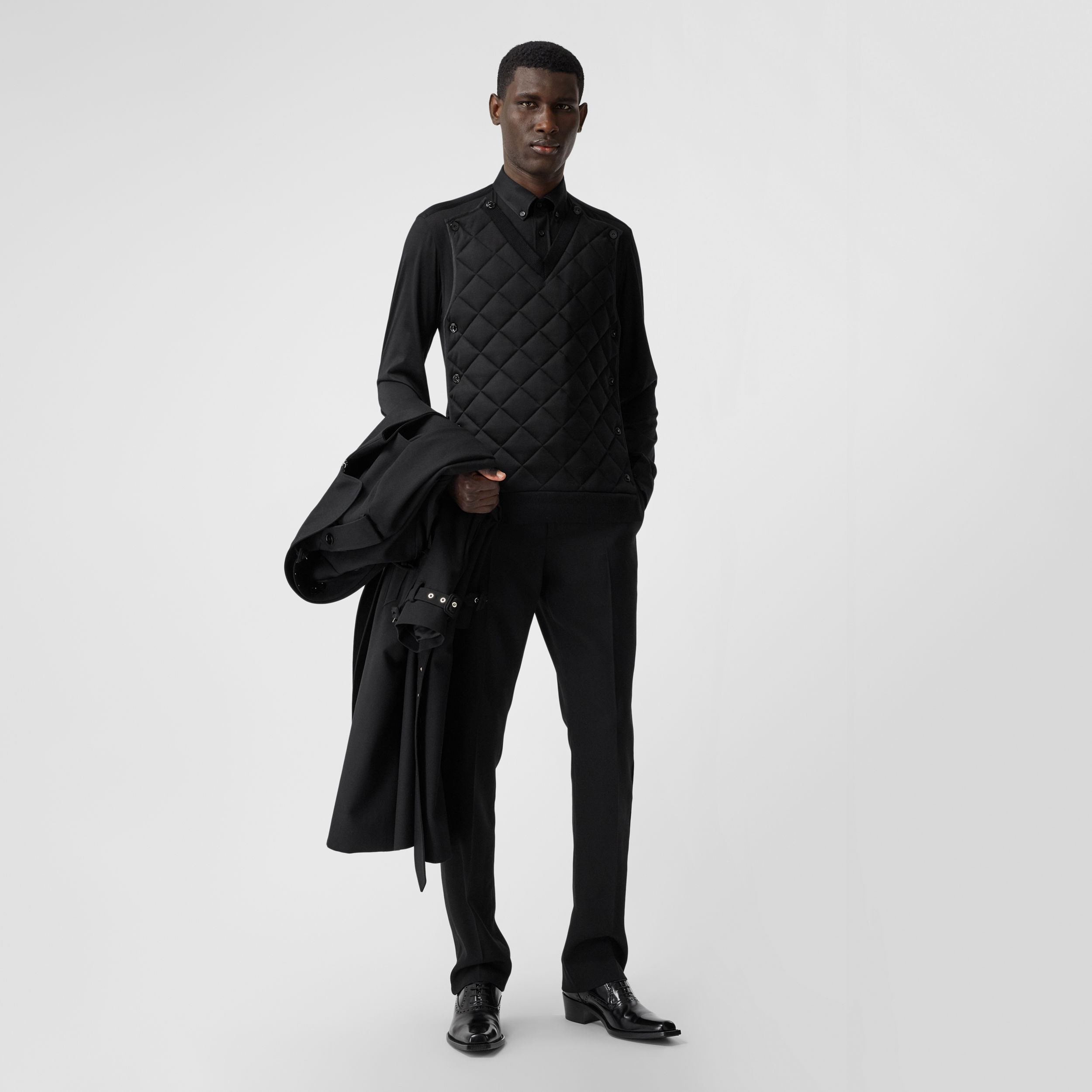 Classic Fit Detachable Quilted Panel Silk Jersey Shirt in Black | Burberry Australia - 1