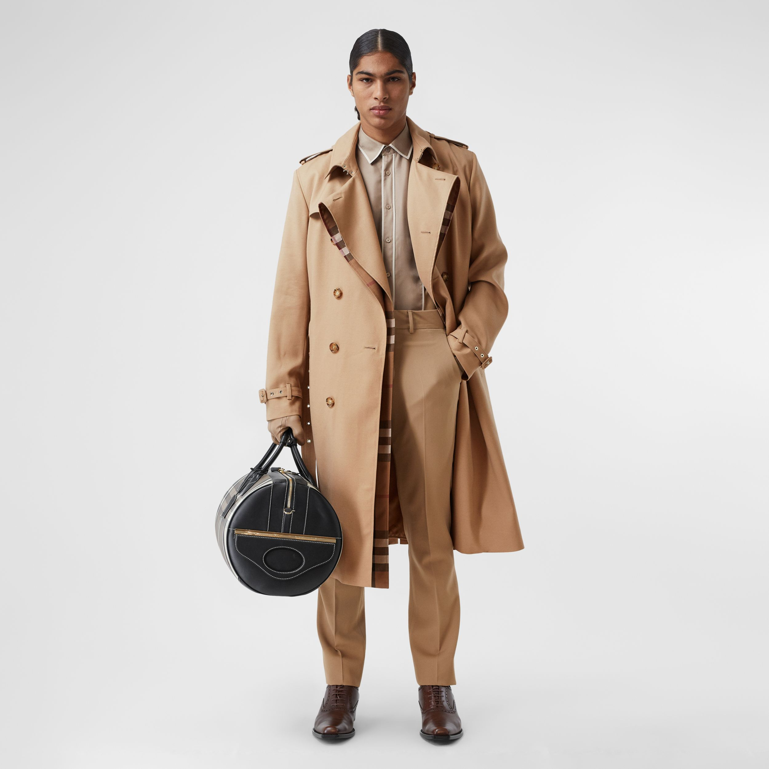 Wool Silk and House Check Loop-back Trench Coat in Biscuit | Burberry - 1