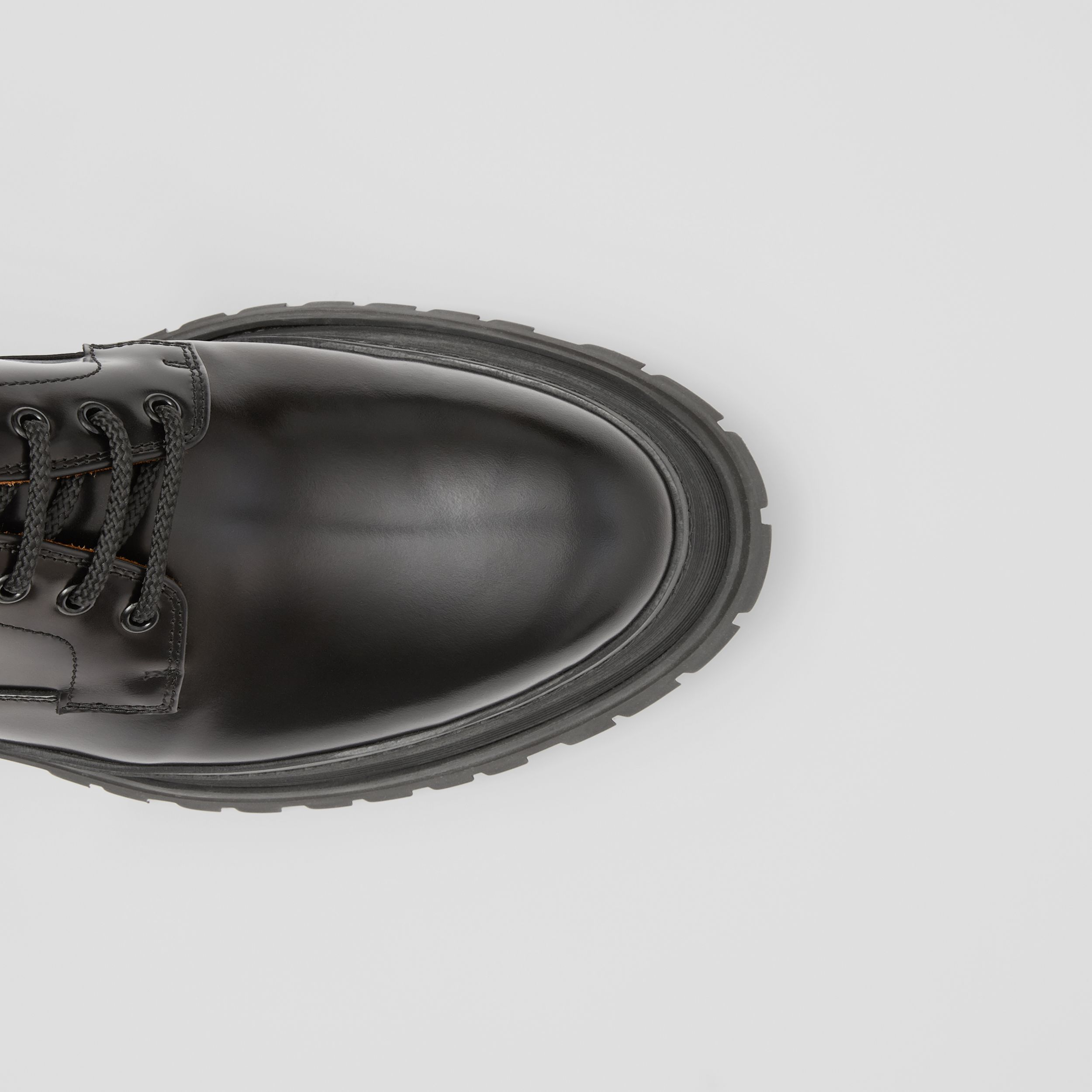 Logo Detail Leather Derby Shoes in Black - Men | Burberry - 2