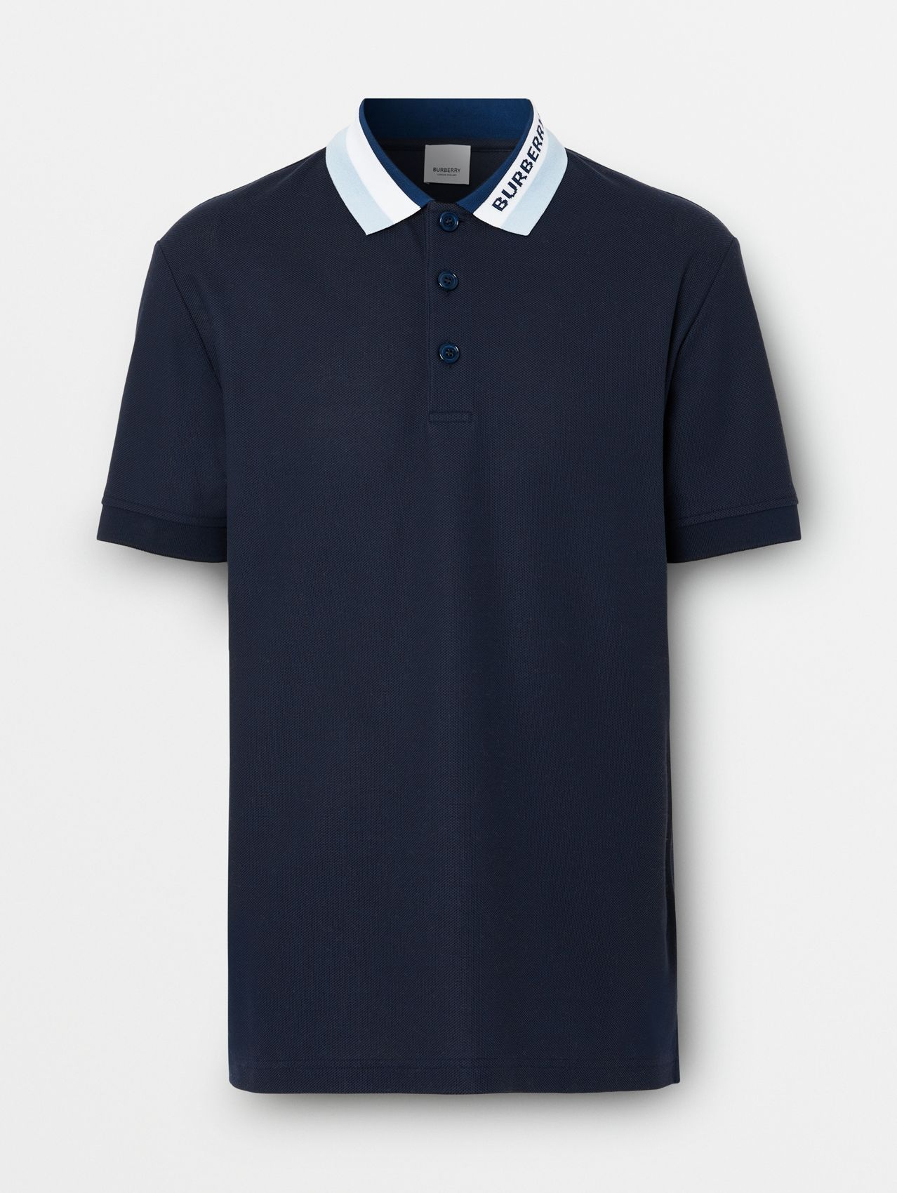 Logo Detail Cotton Piqué Polo Shirt in Navy