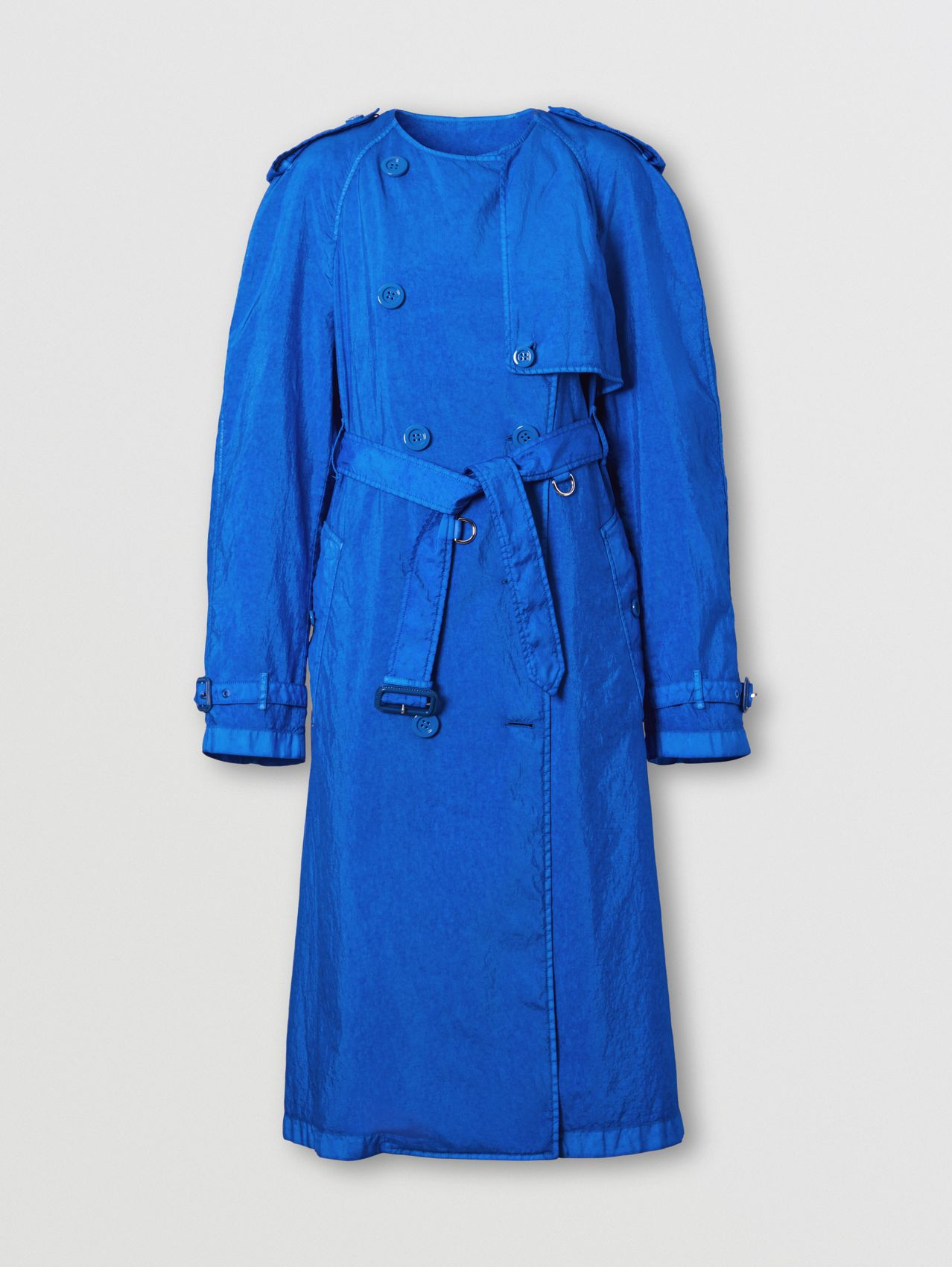 Technical Canvas Collarless Trench Coat in Warm Royal Blue