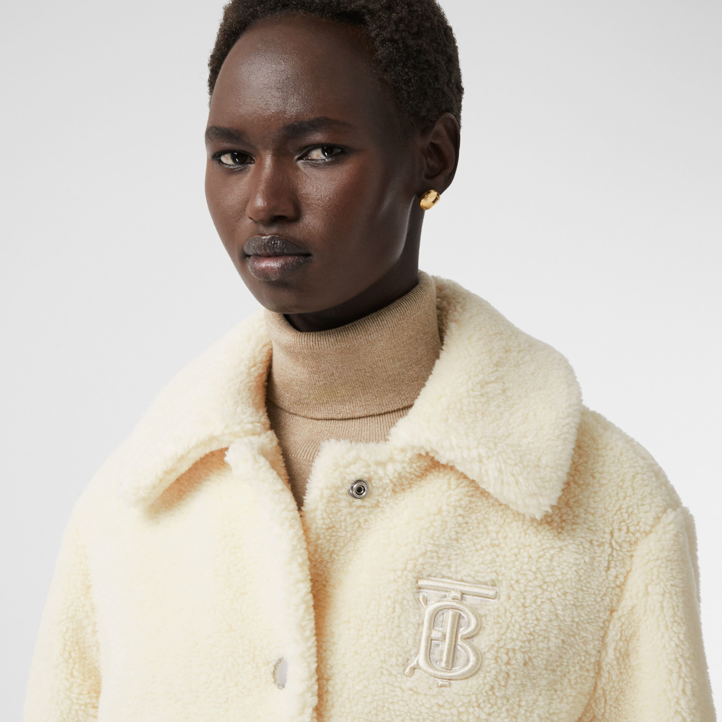 Monogram Motif Fleece Jacket in Ivory - Women | Burberry Hong Kong S.A.R. - 1