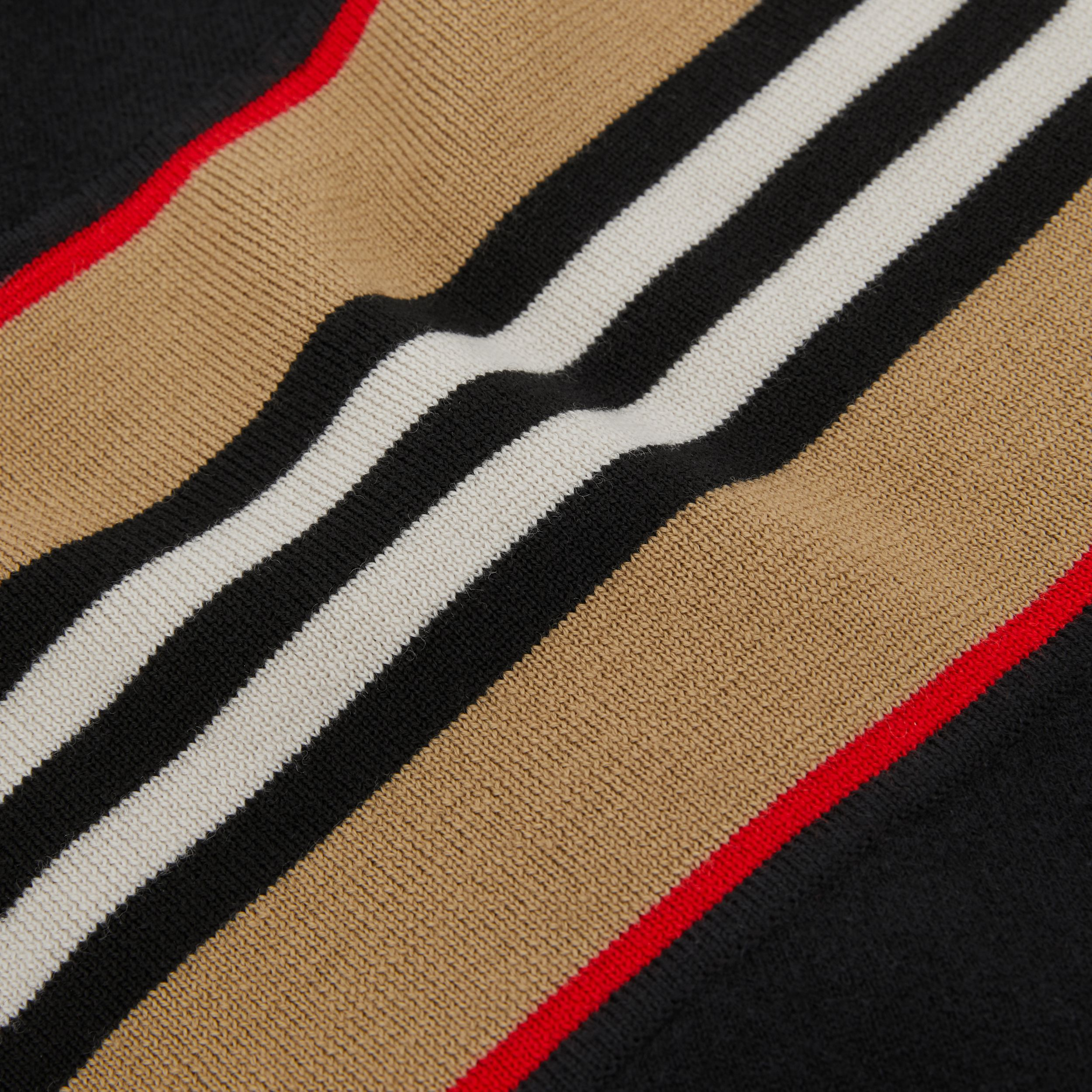 Icon Stripe Panel Wool Cashmere Blend Poncho in Black - Children | Burberry - 2