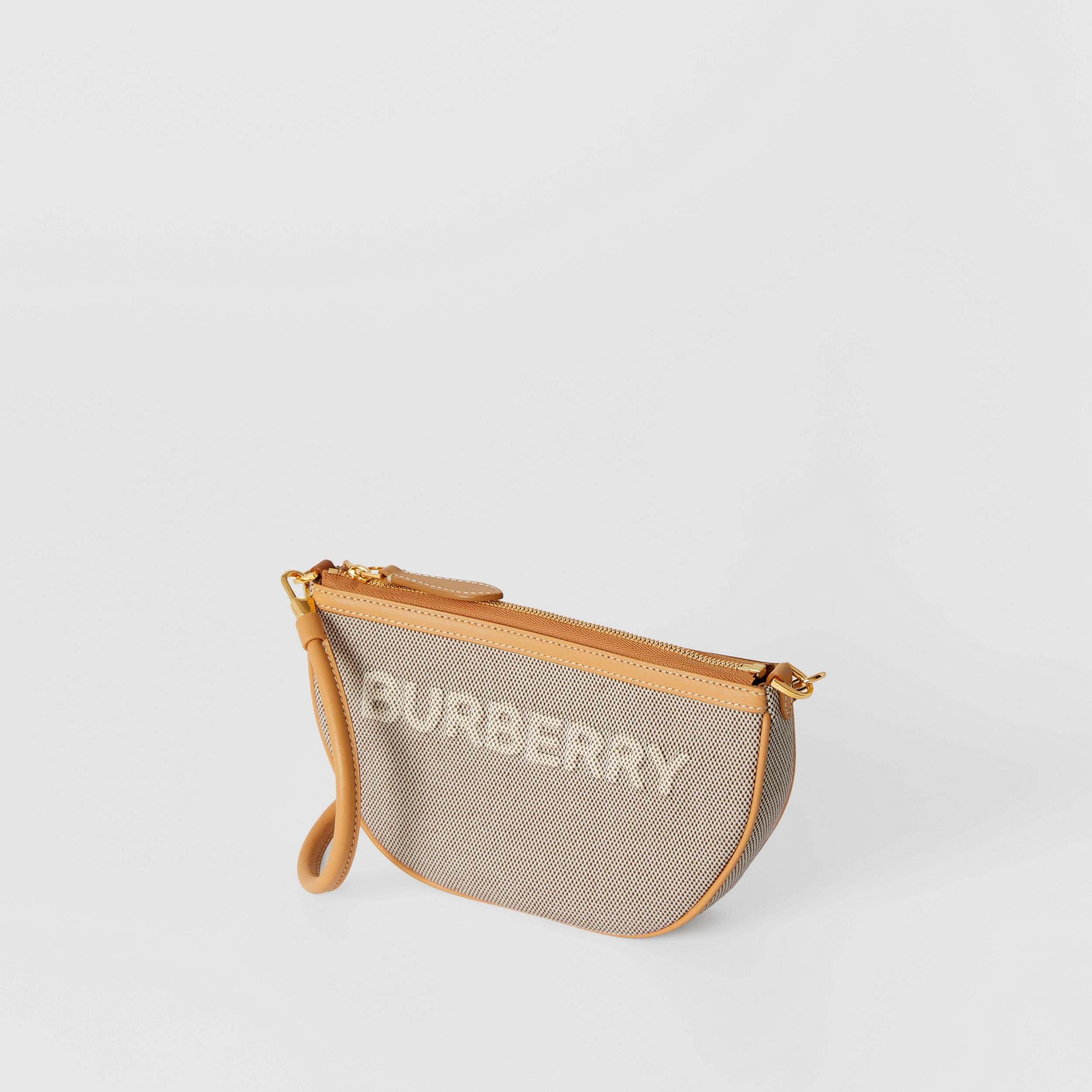 Embossed Logo Canvas and Leather Olympia Pouch in Soft Fawn/warm Sand - Women | Burberry Singapore - 4
