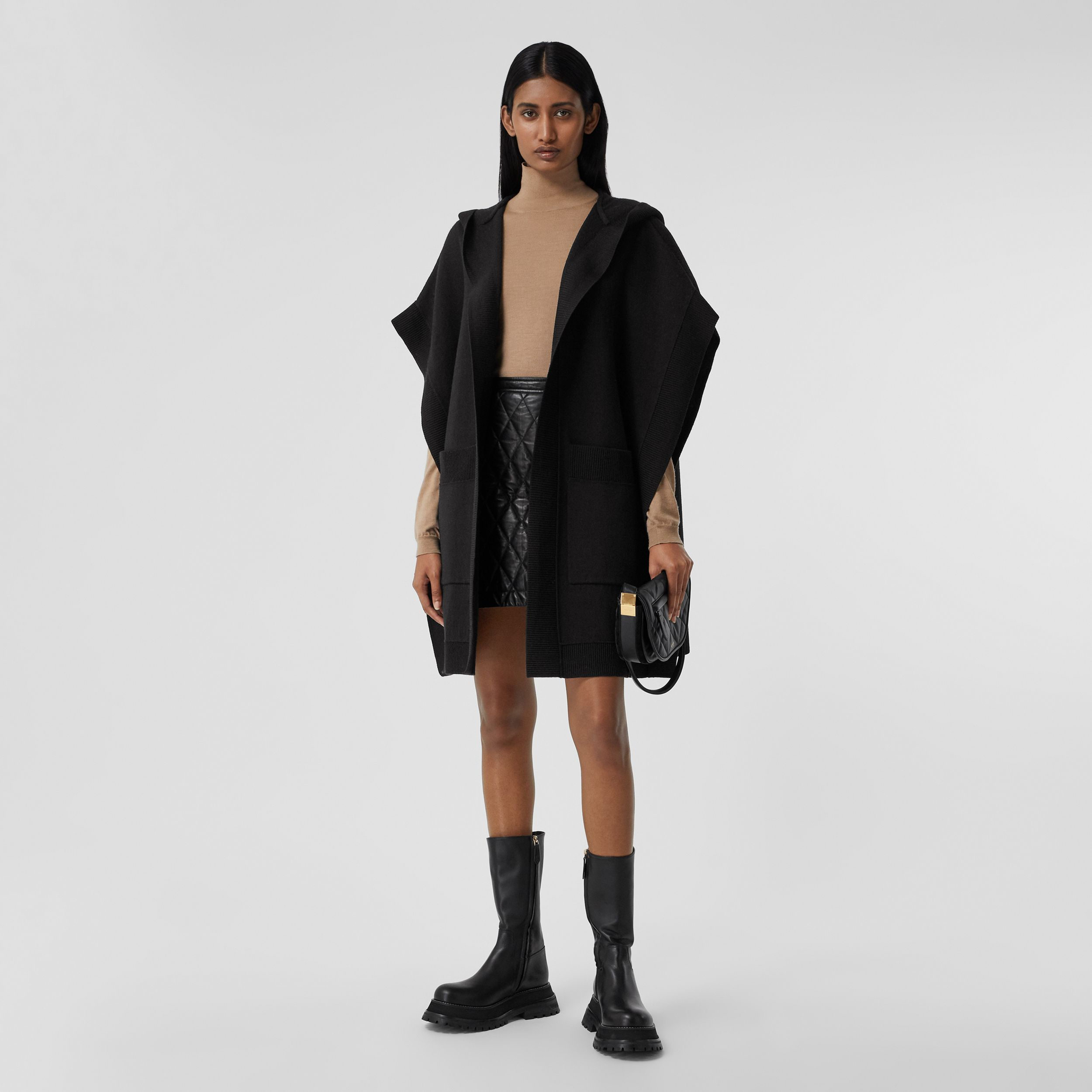 Love Wool Blend Jacquard Hooded Cape in Black - Women | Burberry - 3