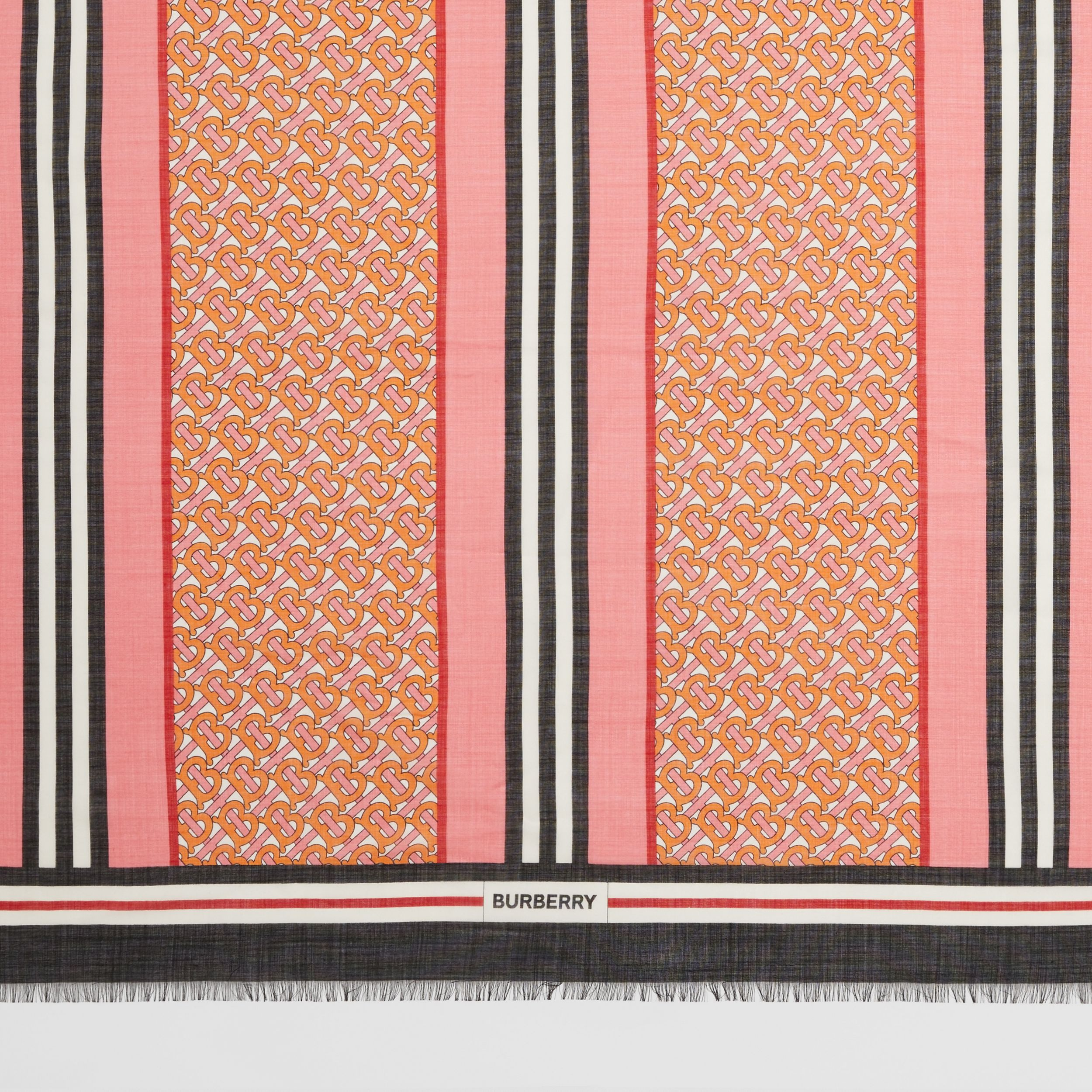 Icon Stripe Monogram Print Wool Silk Square Large Scarf in Camellia Pink | Burberry - 2