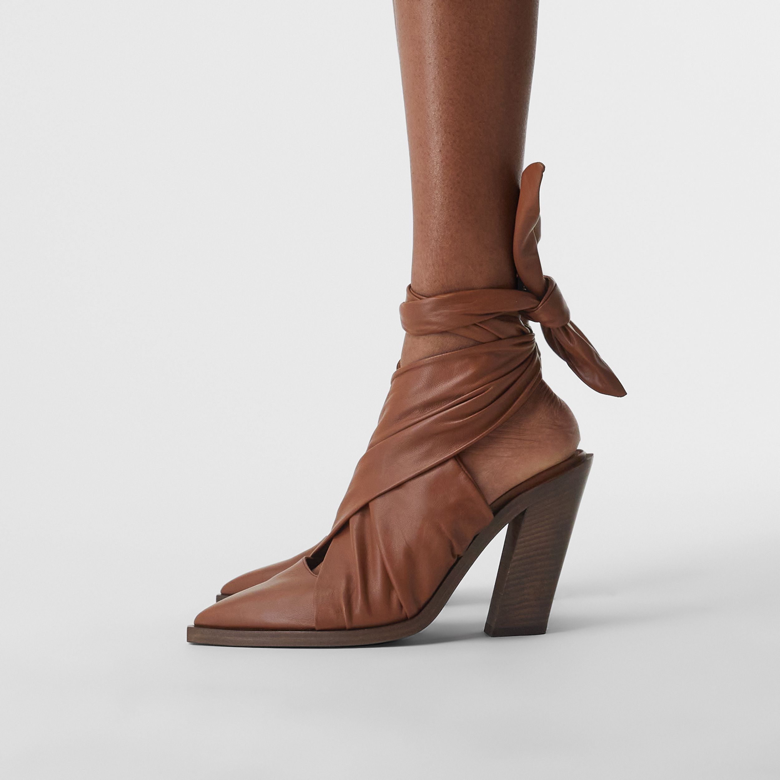 Scarf Tie Detail Lambskin Point-toe Mules in Tan - Women | Burberry - 3