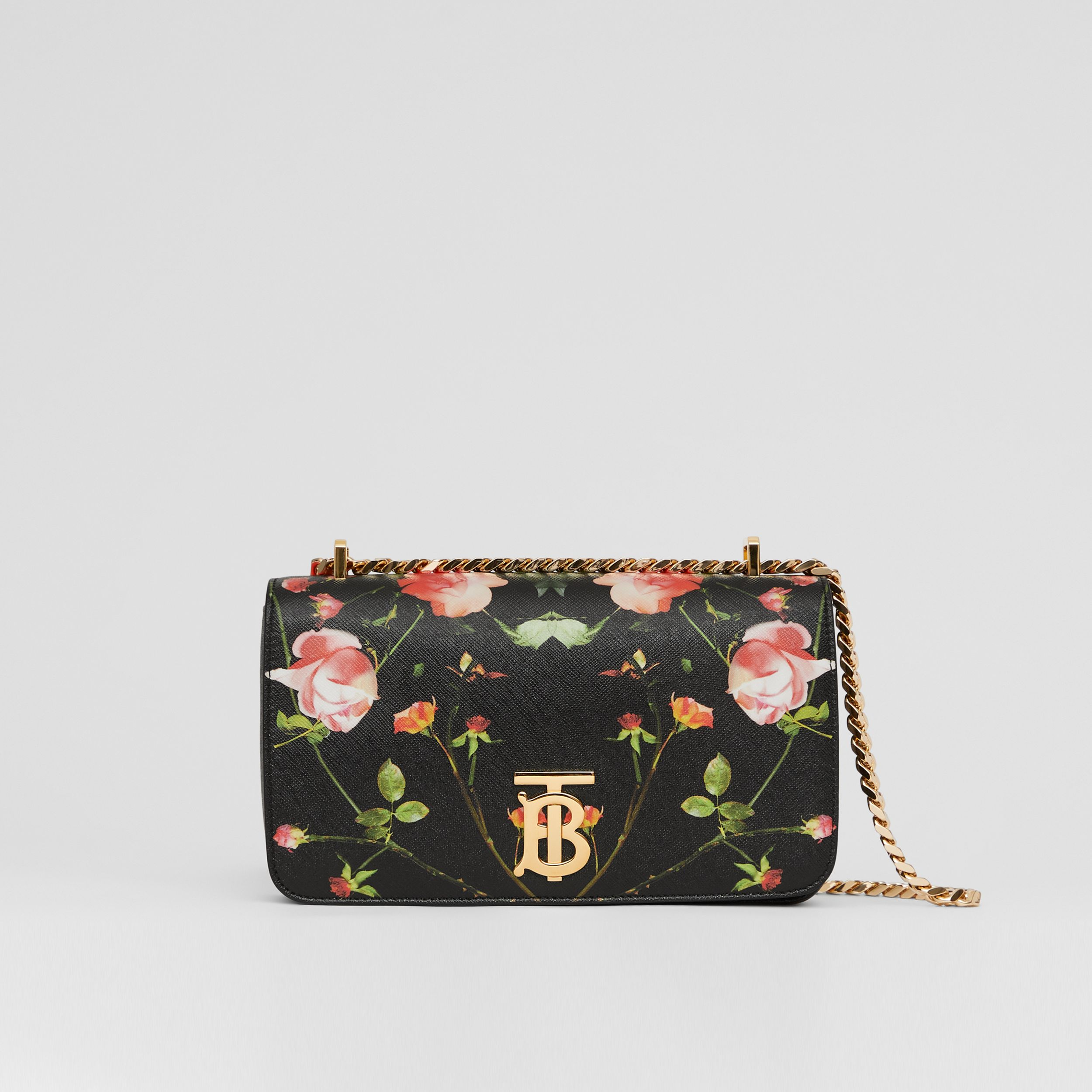 Small Rose Print E-canvas Lola Bag – Online Exclusive in Black - Women | Burberry - 1