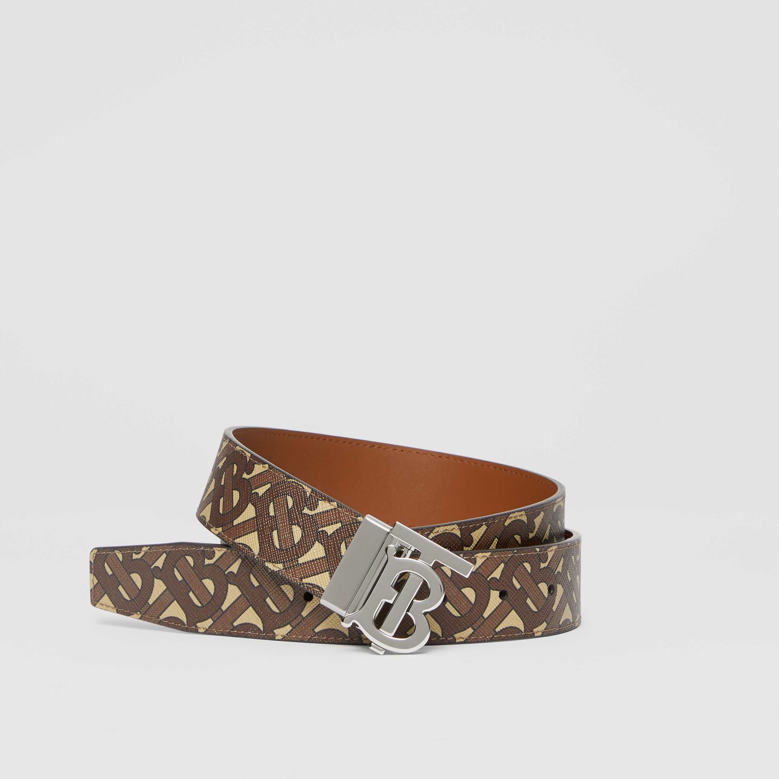 Reversible Monogram Motif E-canvas and Leather Belt in Bridle Brown/tan - Men | Burberry - 1