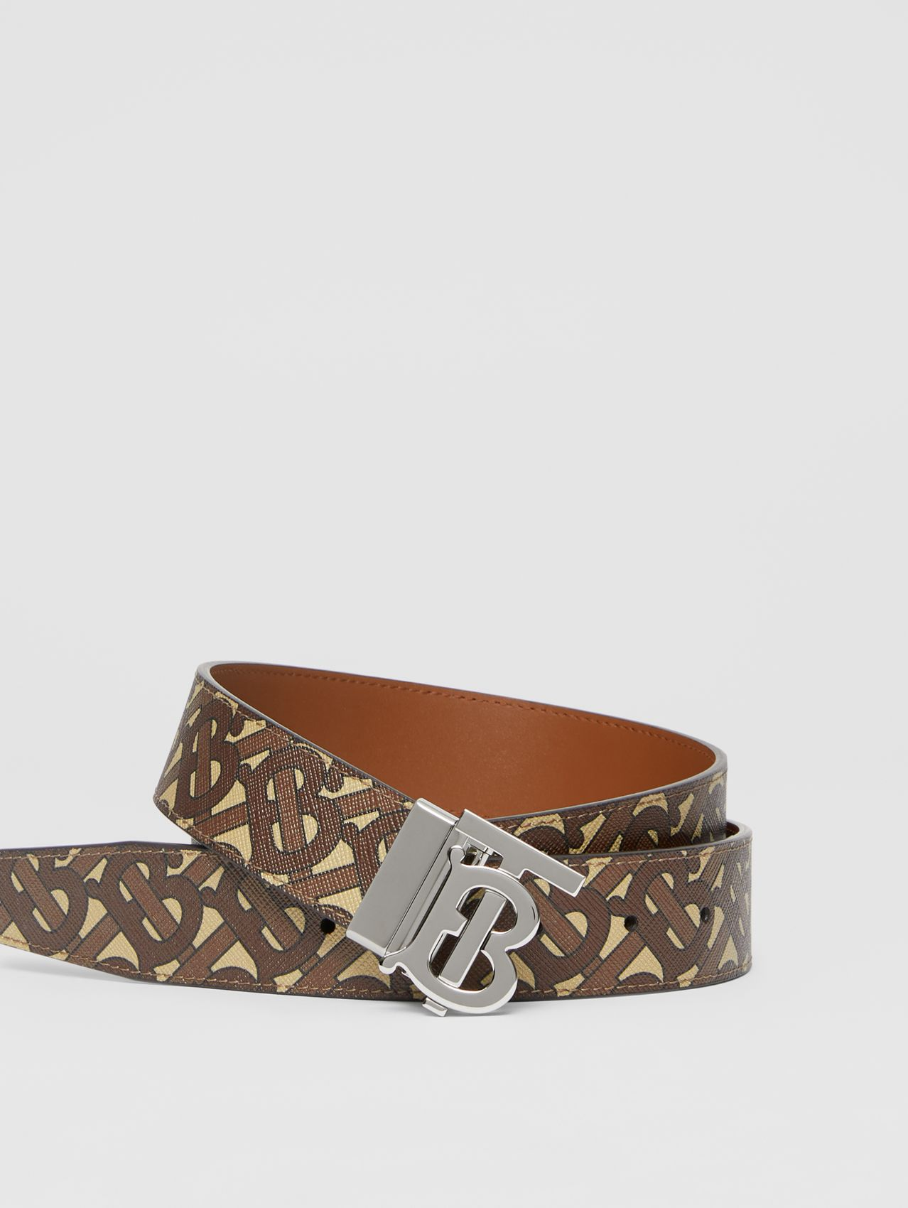 Reversible Monogram Motif E-canvas and Leather Belt in Bridle Brown/tan