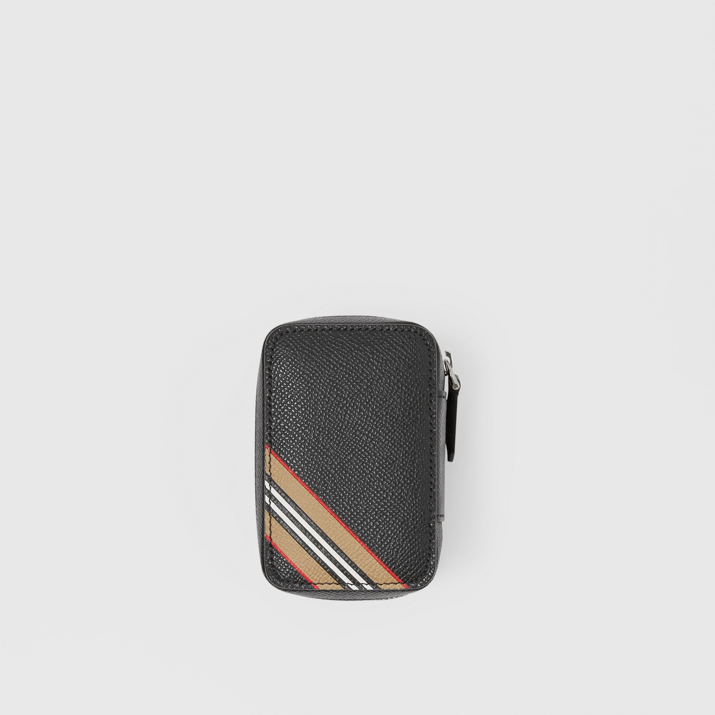 Icon Stripe Print Grainy Leather Cufflink Case in Black - Men | Burberry - 1