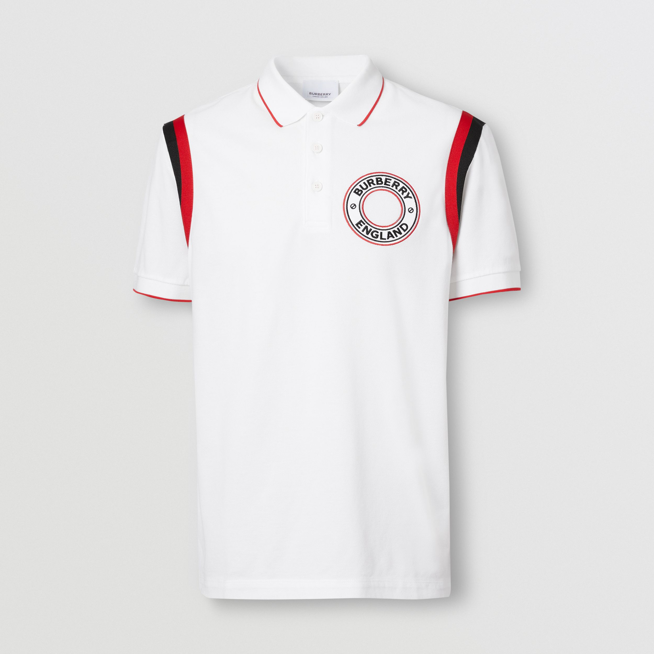 Logo Graphic Appliqué Cotton Piqué Polo Shirt in White - Men | Burberry - 4