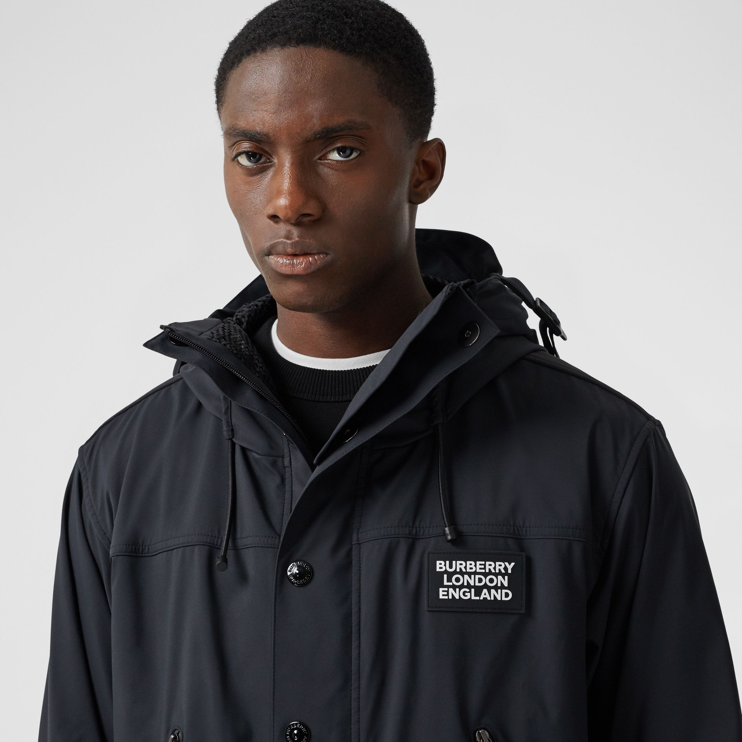 Logo Appliqué Technical Twill Hooded Jacket in Black - Men | Burberry - 2