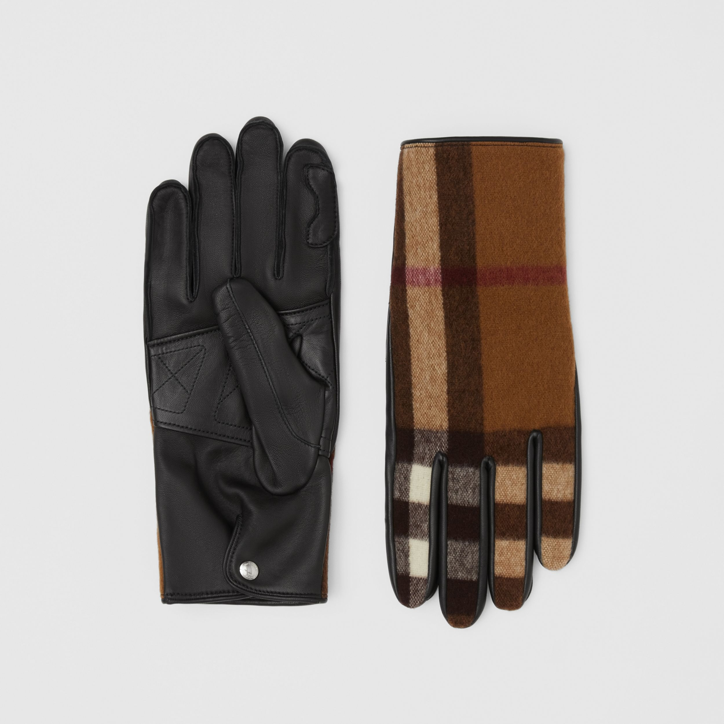 Cashmere-lined Check Wool and Lambskin Gloves in Birch Brown | Burberry - 1