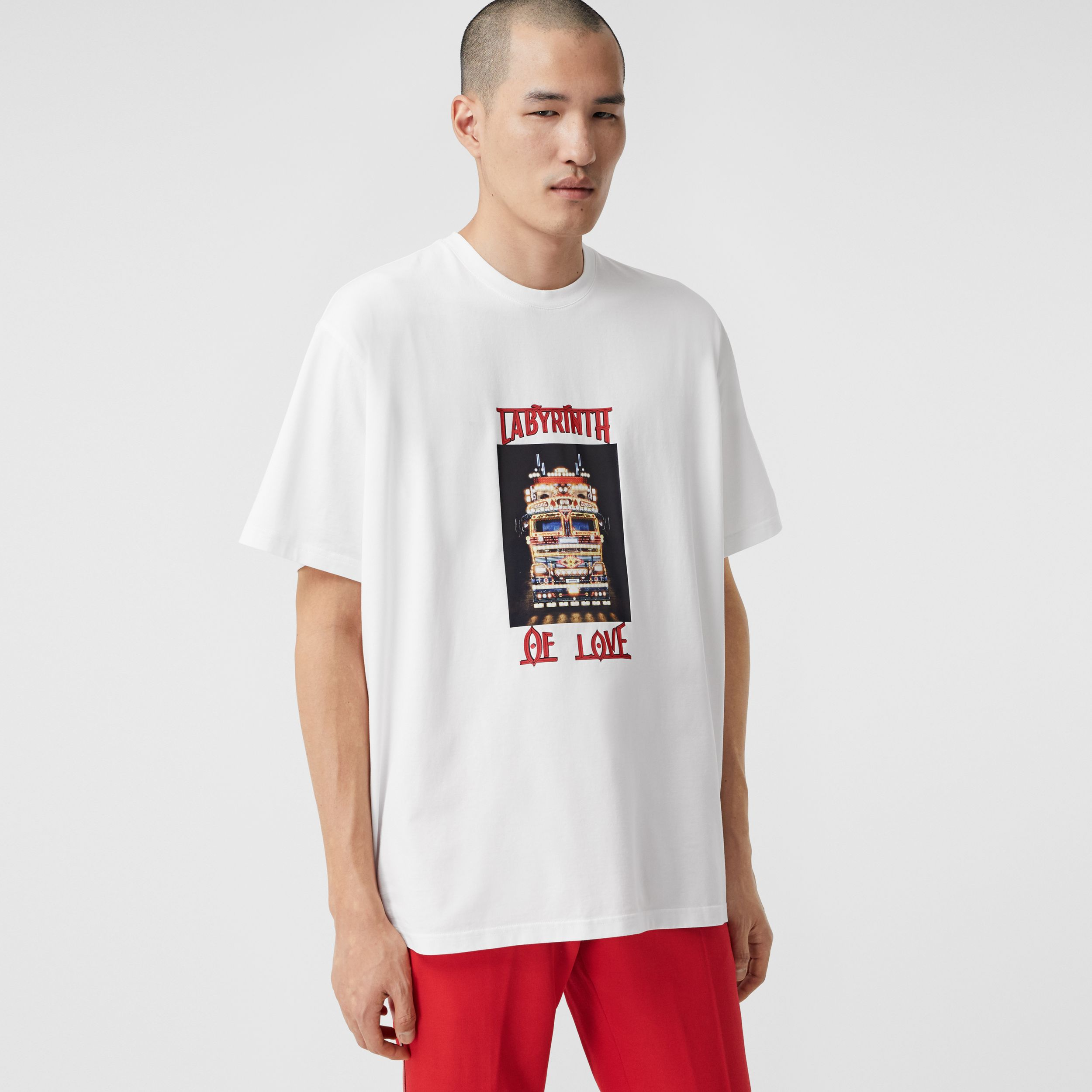 Photo Print Cotton T-shirt in Optic White - Men | Burberry - 1