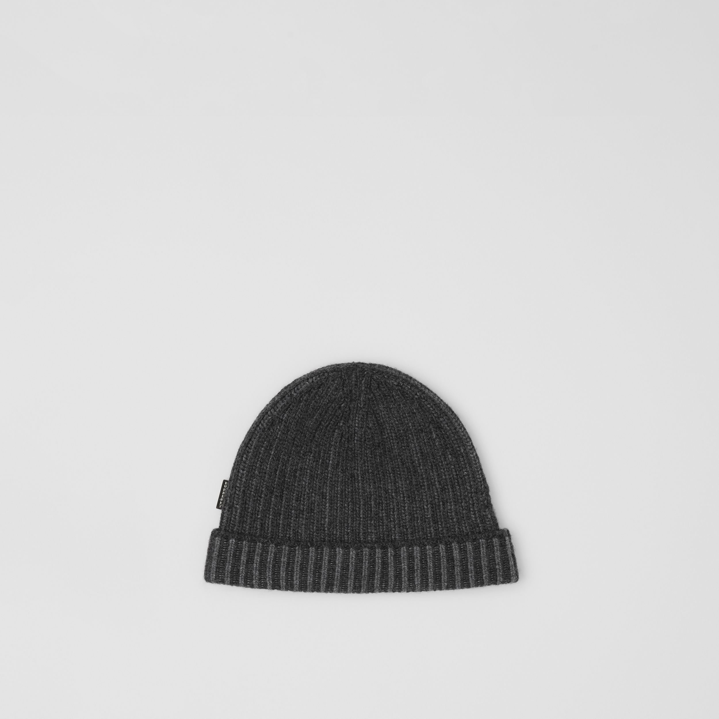 Rib Knit Cashmere Beanie in Grey Melange | Burberry - 1