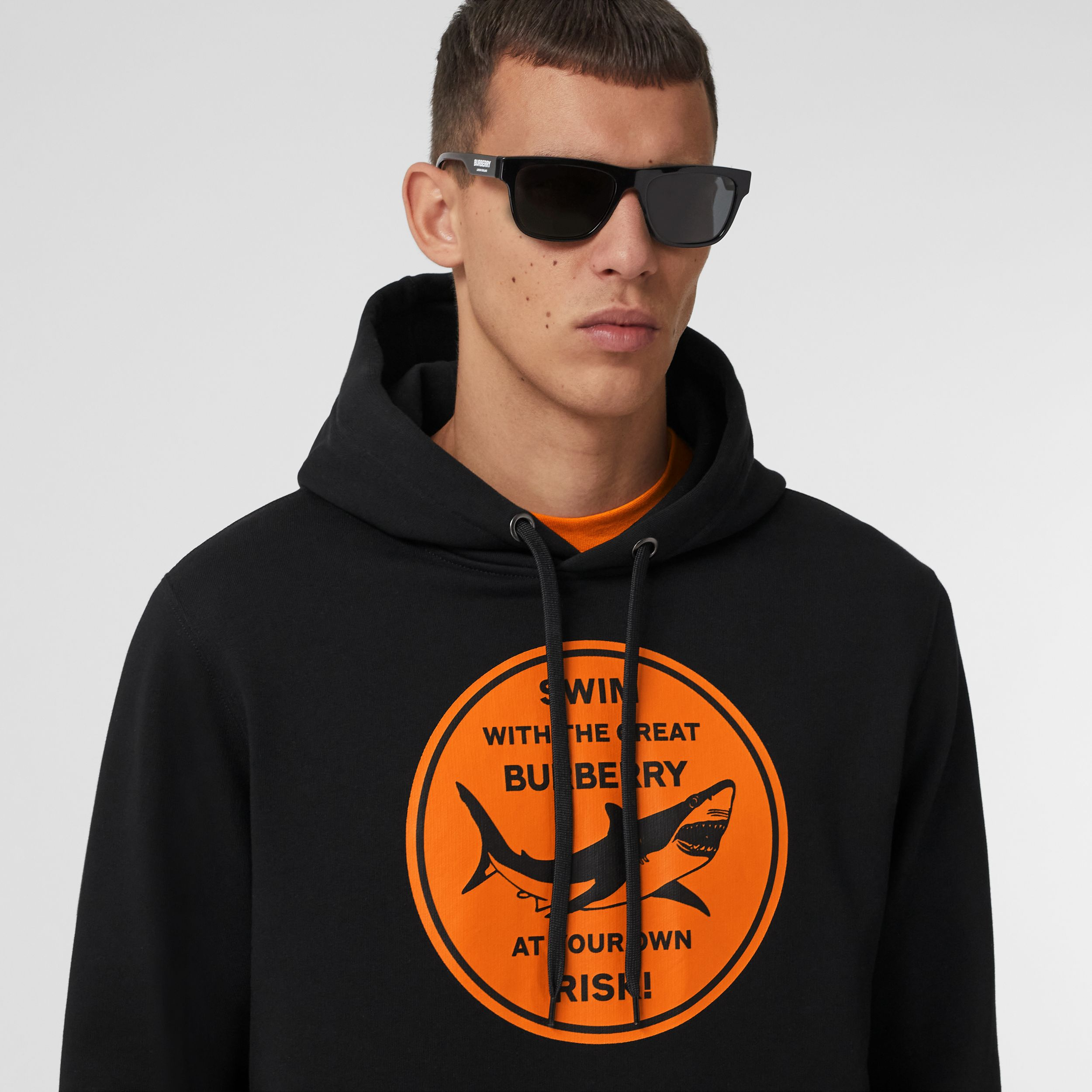 Shark Graphic Cotton Hoodie in Black - Men | Burberry - 2