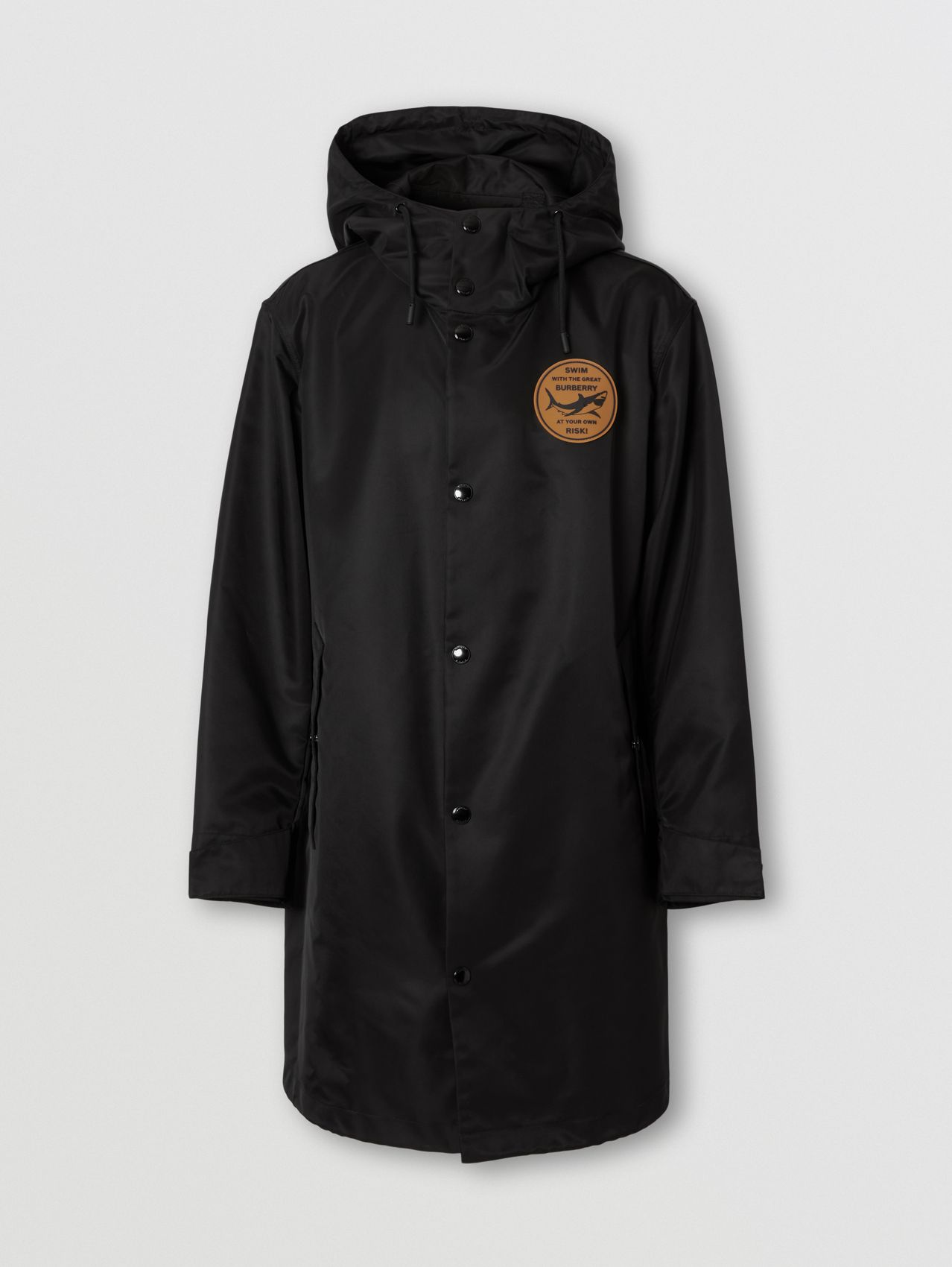 Shark Graphic Technical Twill Parka in Black