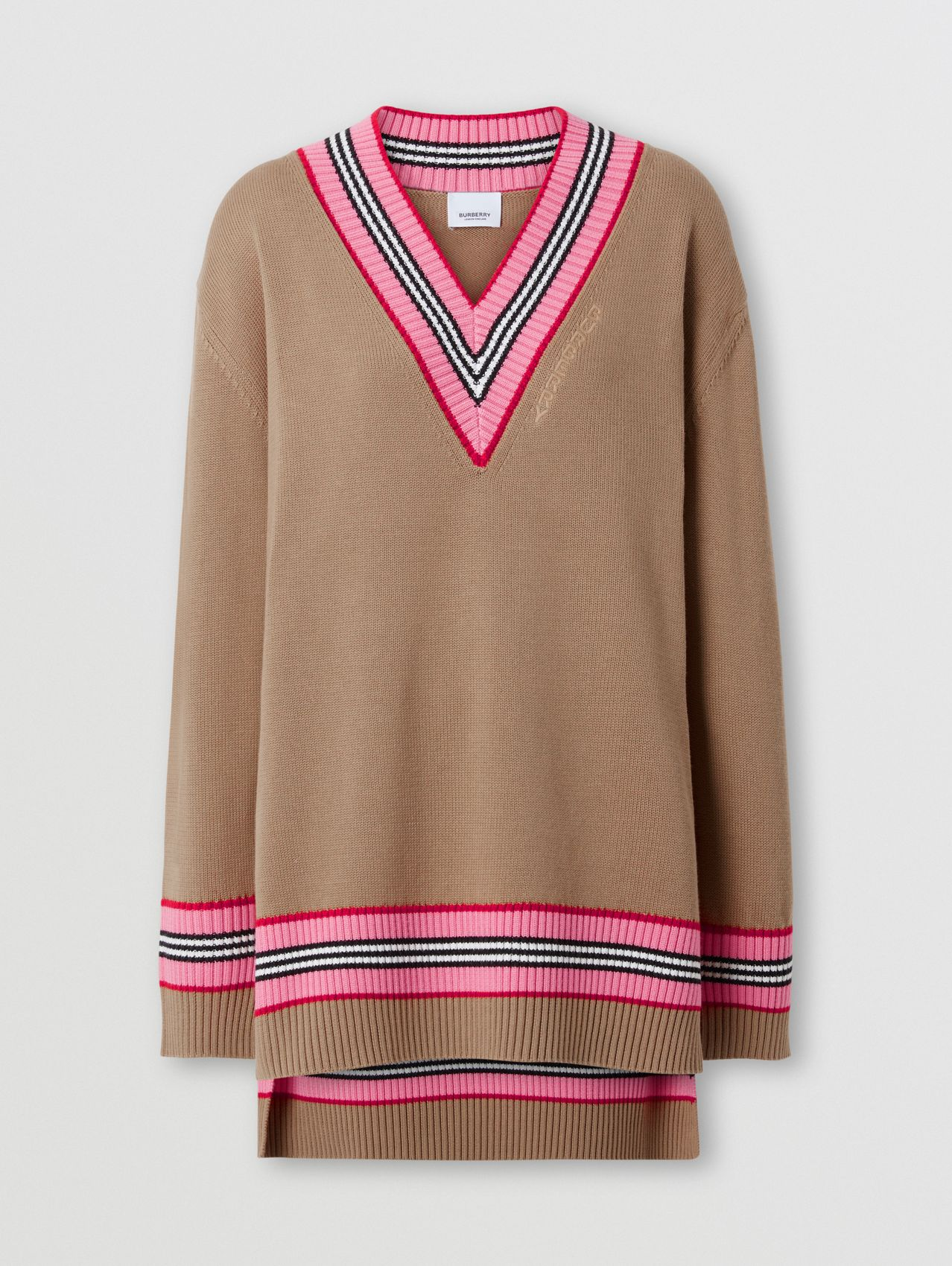 Cotton Oversized Cricket Sweater in Camel